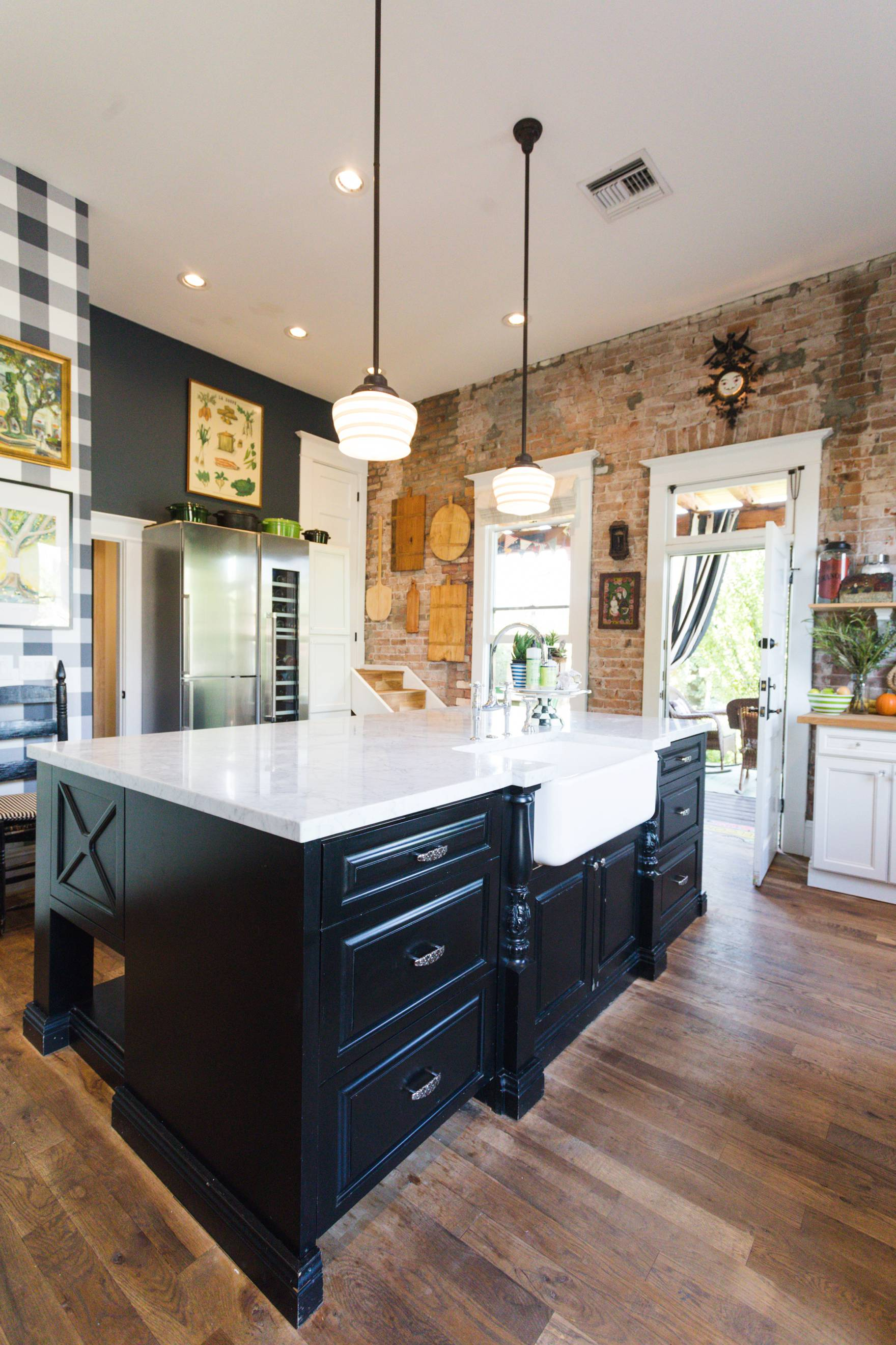 Home Tour of Boho Farm and Home in Downtown Phoenix - cottage brick style home from 1903 living room to kitchen details, gingham wallpaper cottage style decor kitchen island storage farmhouse sink exposed brick