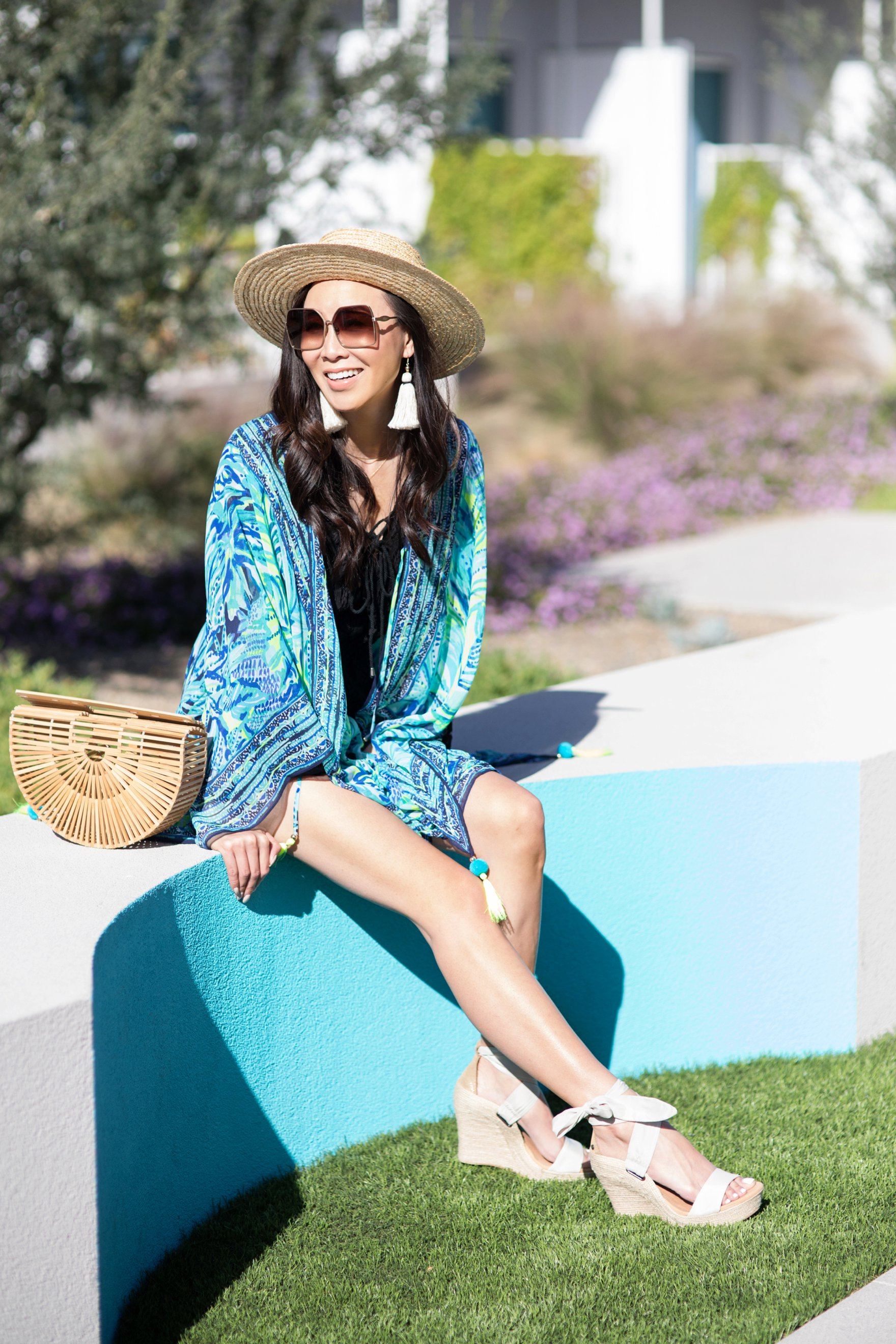 ANYA KIMONO Lilly Pulitzer resort style tassel earrings on Diana Elizabeth