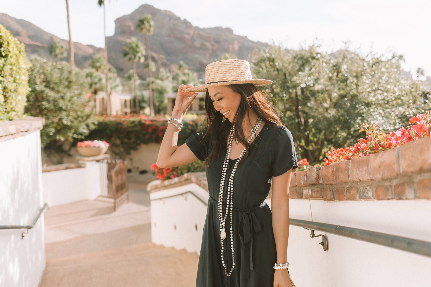 black maxi dress long pearl crochet necklace with hat, sunny day in scottsdale blogger Diana elizabeth