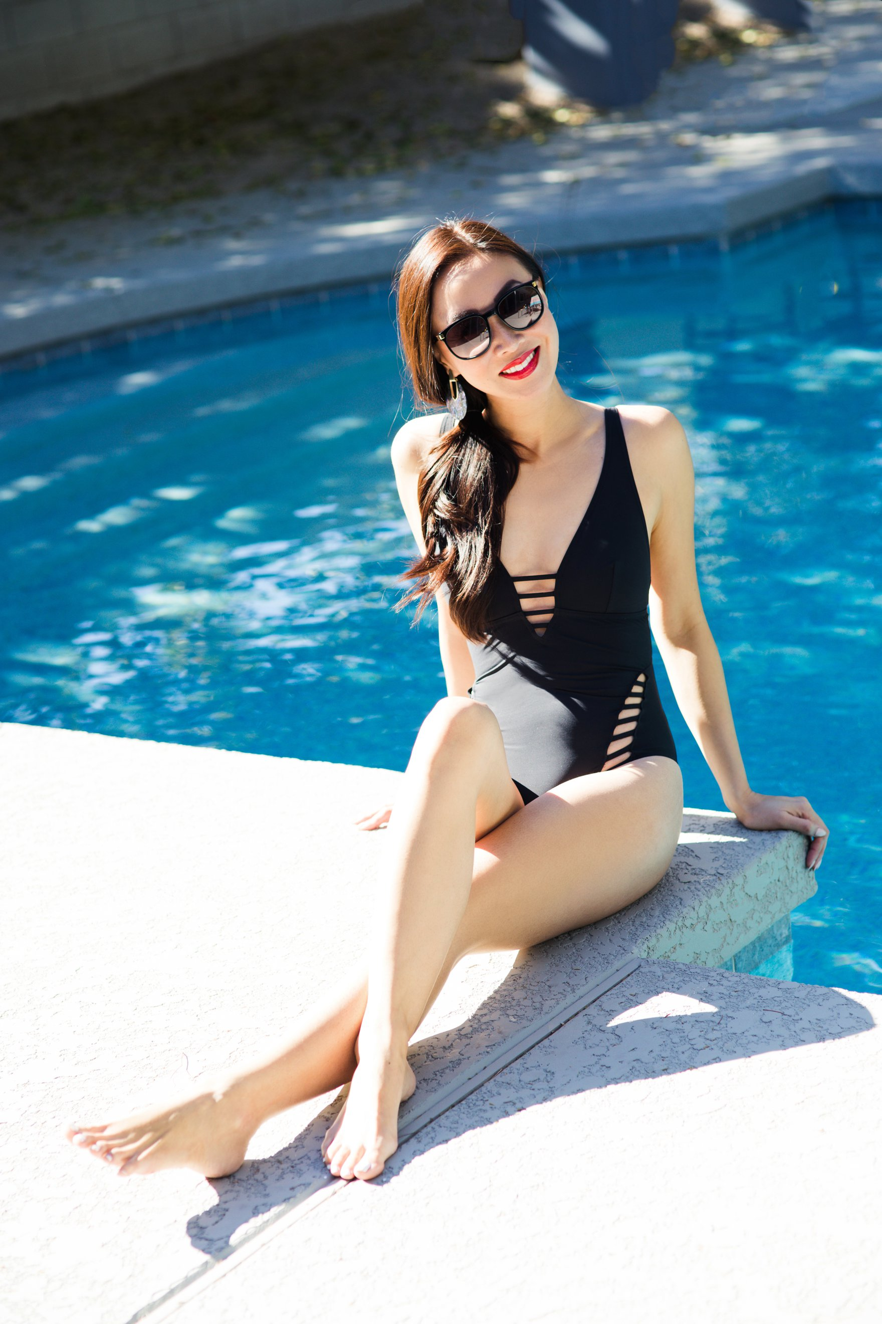 icon ladder tummy control black one piece swimsuit from figleaves has cute cutout
