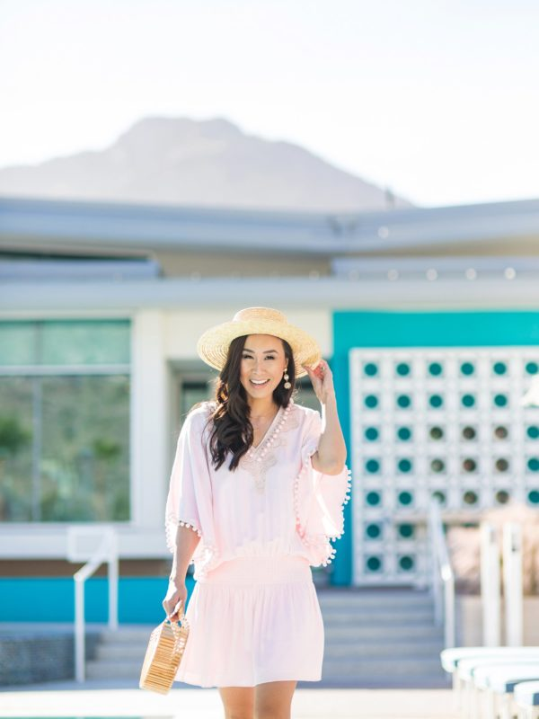 Lilly Pulitzer VEA TUNIC DRESS pink pom dress resort on Diana Elizabeth phoenix lifestyle blogger