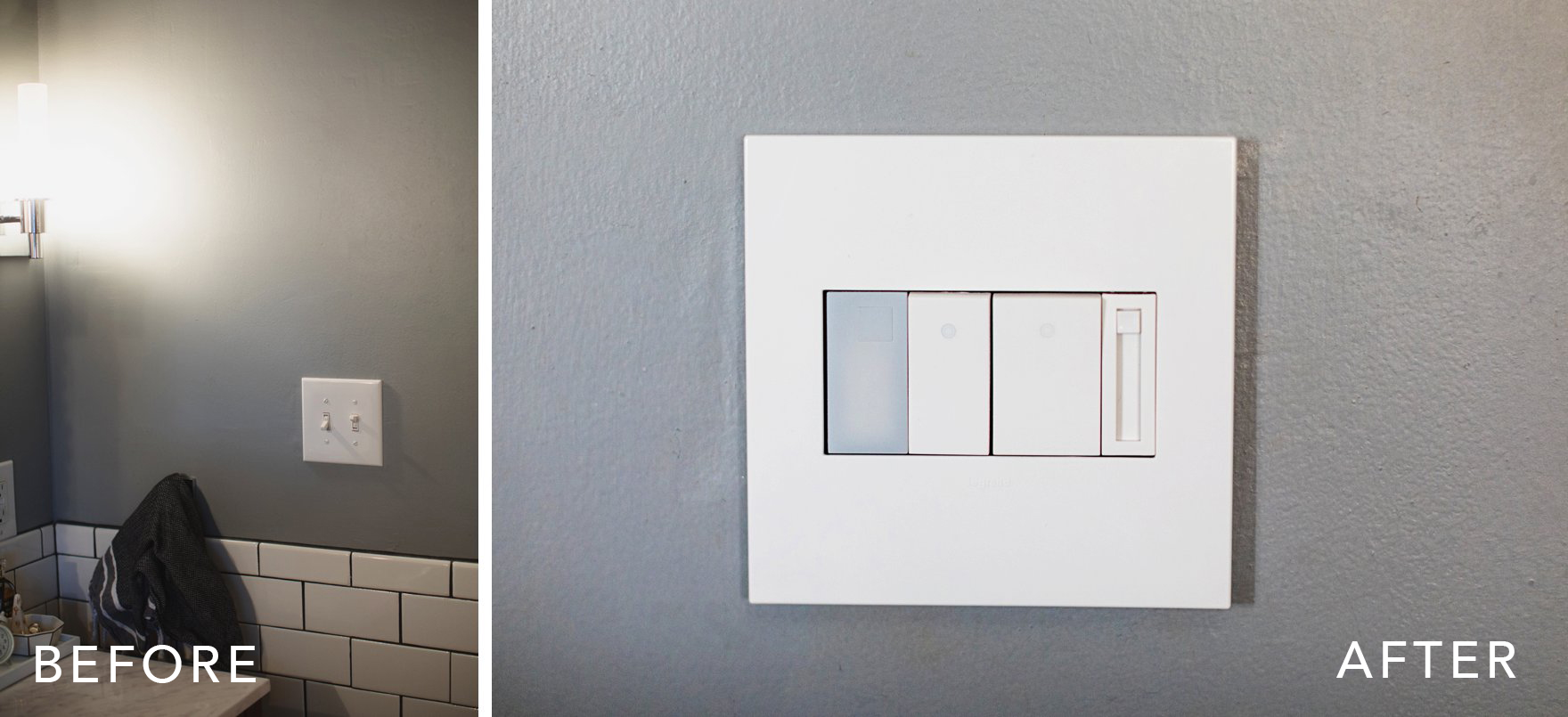 Legrand adorne collection swichplates and customizable outets plug USB highlight and dimmer switch