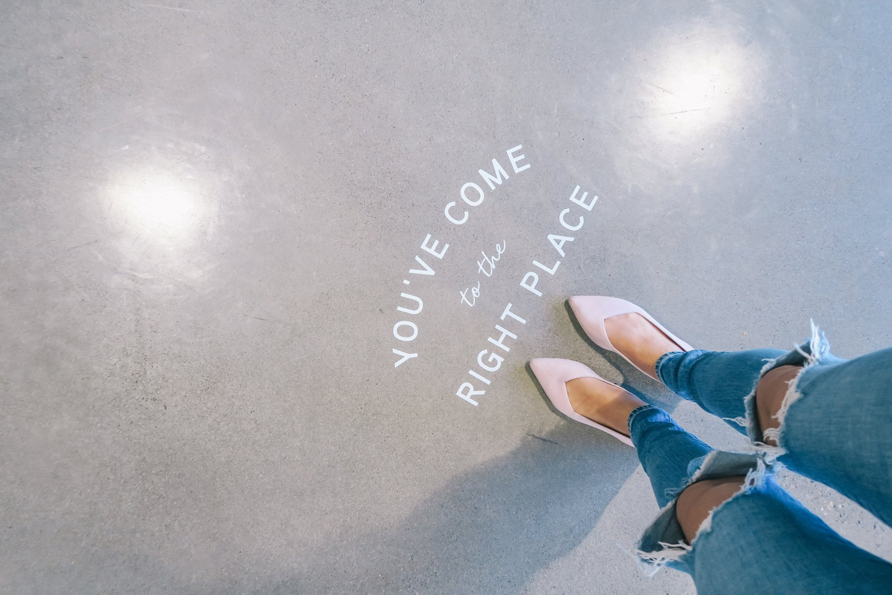 you've come to the right place decal on the floor pink rothy's // a business and blogging social media workshop called The Workshop PHX by the Bloguettes - a review.
