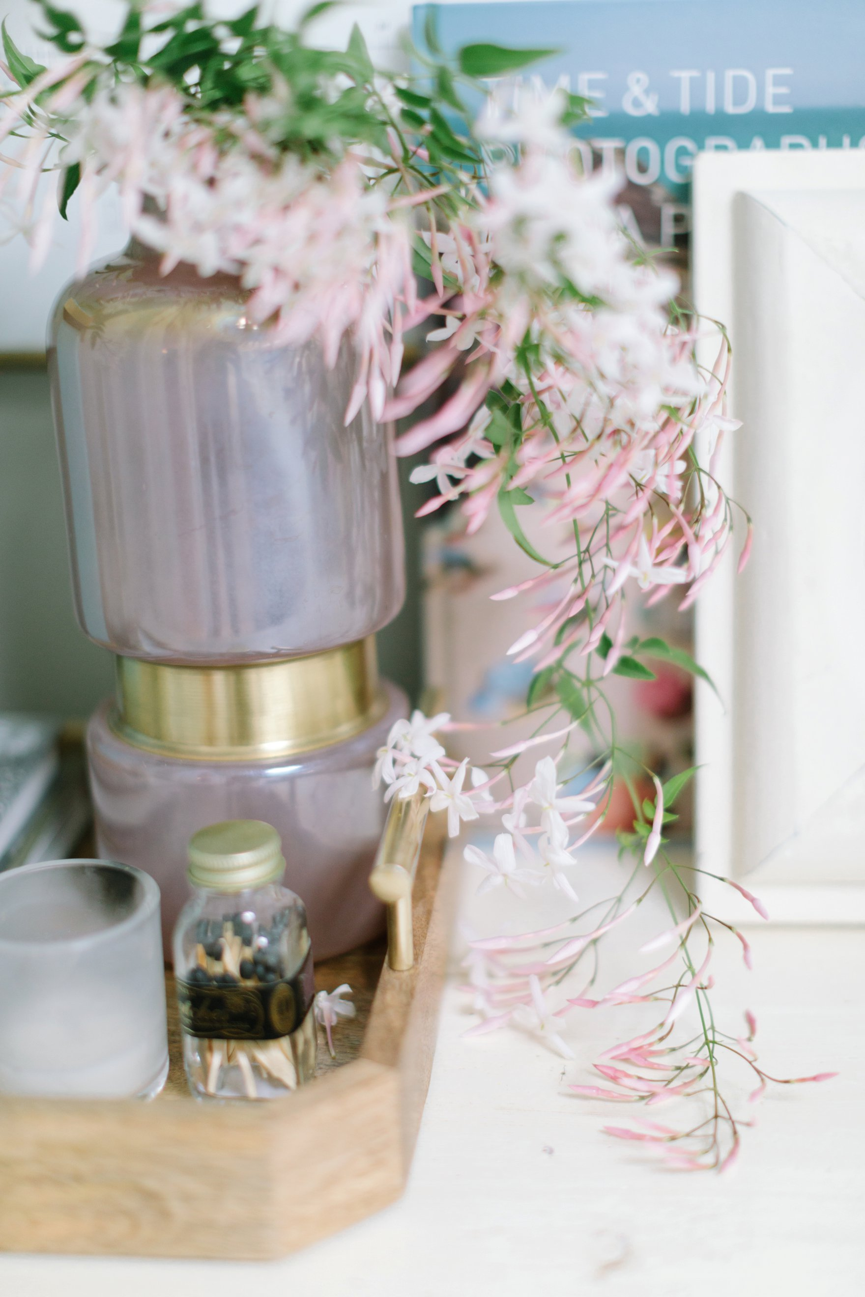 blogger photographer home office decor Diana Elizabeth's office featuring Coastal Living by Stanley Furniture Oasis Cape Dutch Writing Desk pink jasmine smells so good