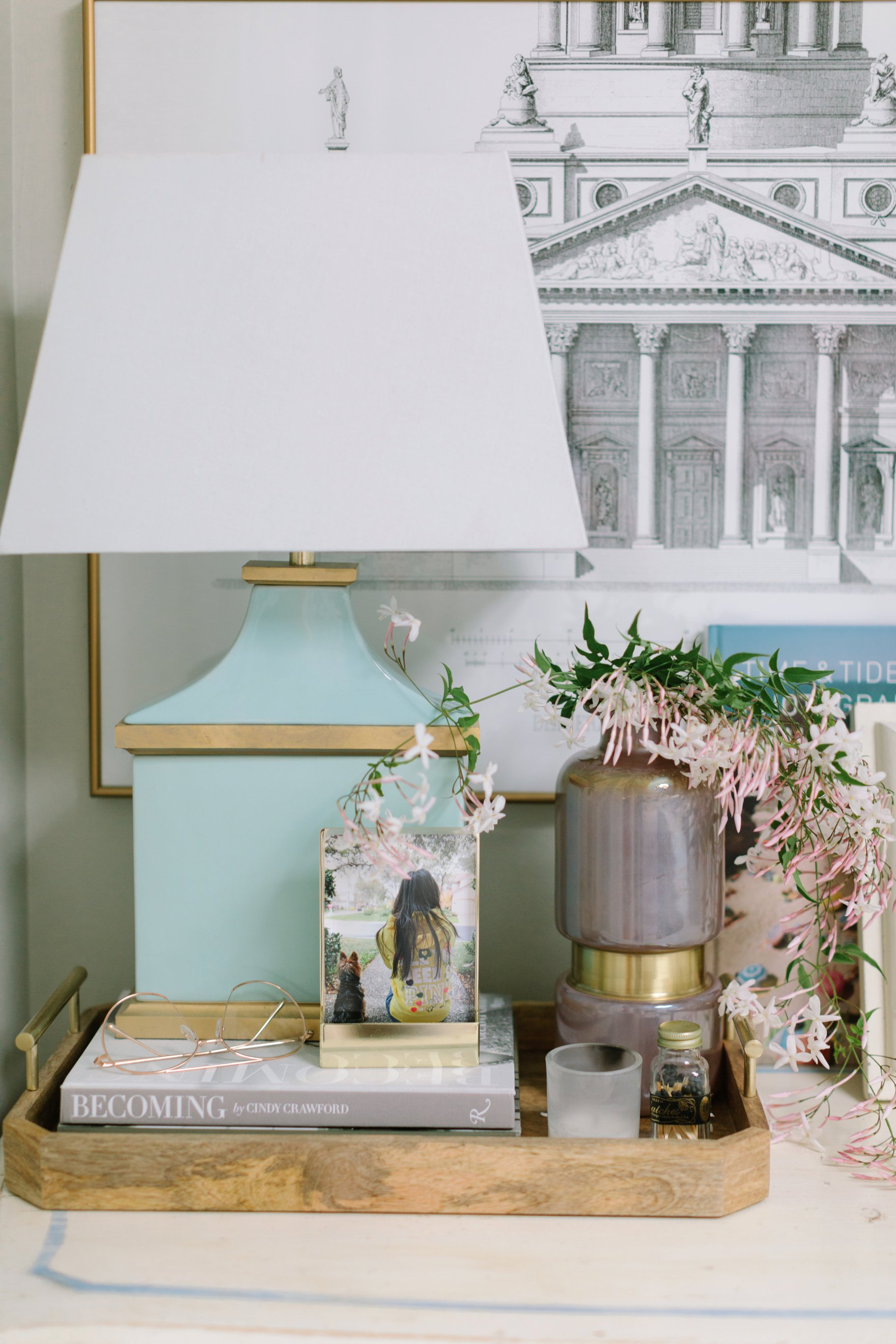 blogger photographer home office decor Diana Elizabeth's office featuring Coastal Living by Stanley Furniture Oasis Cape Dutch Writing Desk pink jasmine in a vase
