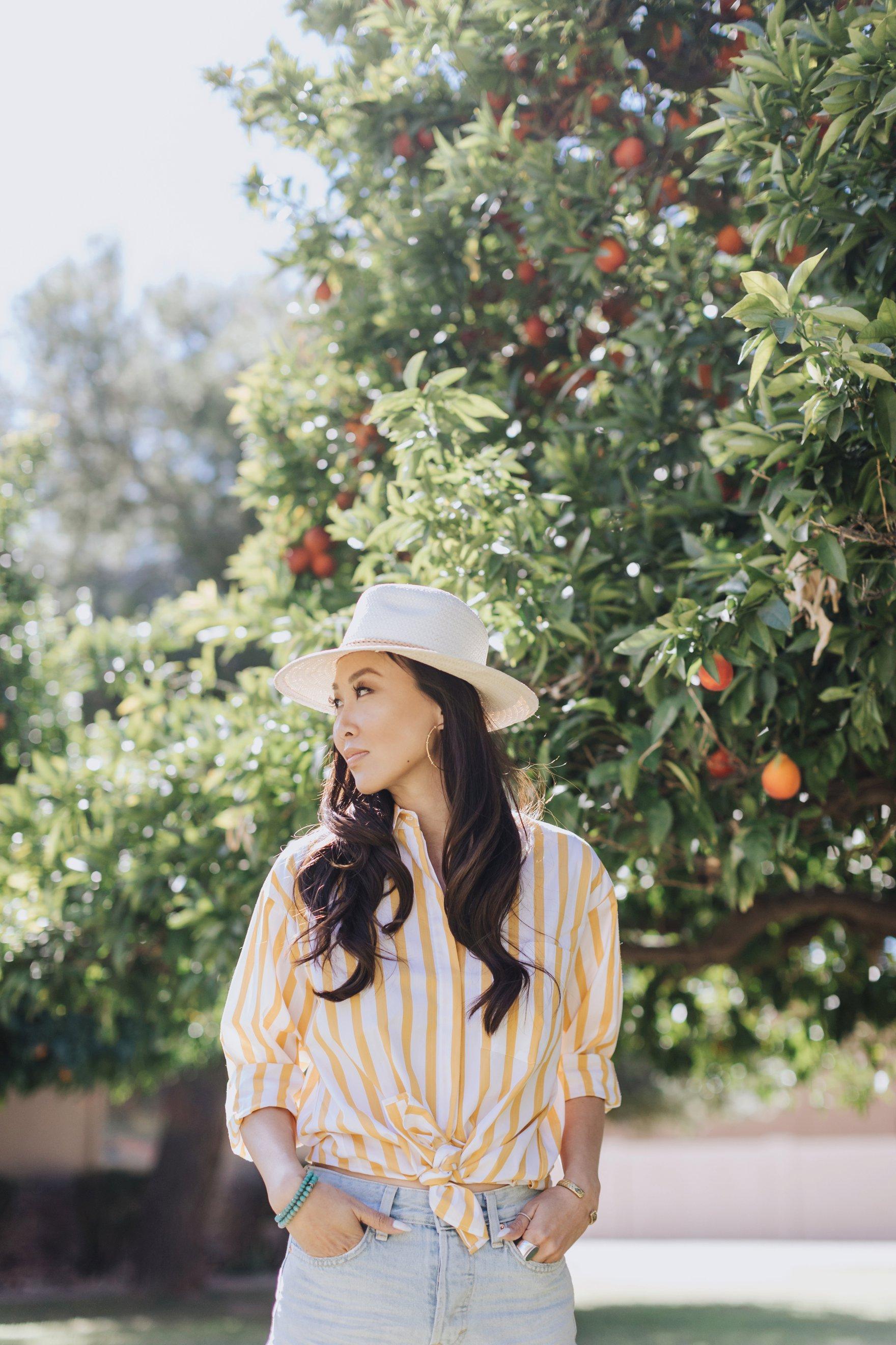 yellow stripe shirt straw hat picking citrus lemons blood red oranges Diana Elizabeth phoenix blogger