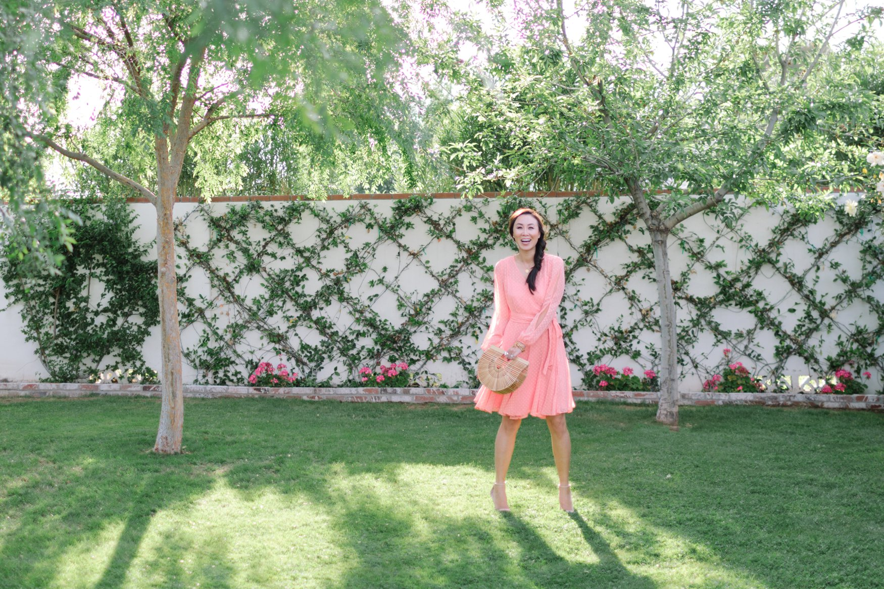 tahari asl dress easter dress Diana Elizabeth against jasmine vine espalier wall birdcage looking handbag by cult gaia