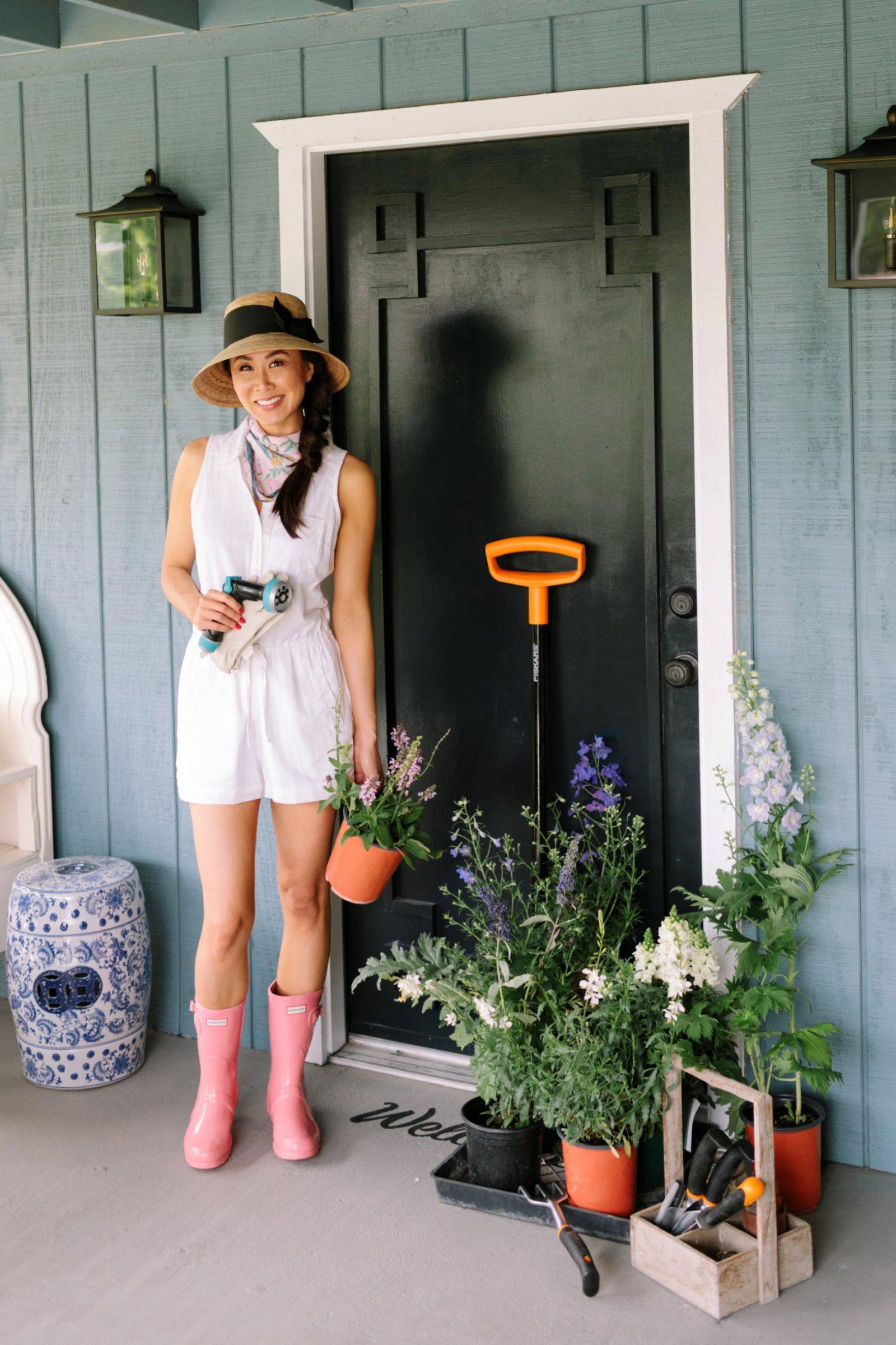Into the garden front door greek key design plants from the nursery and new garden tools