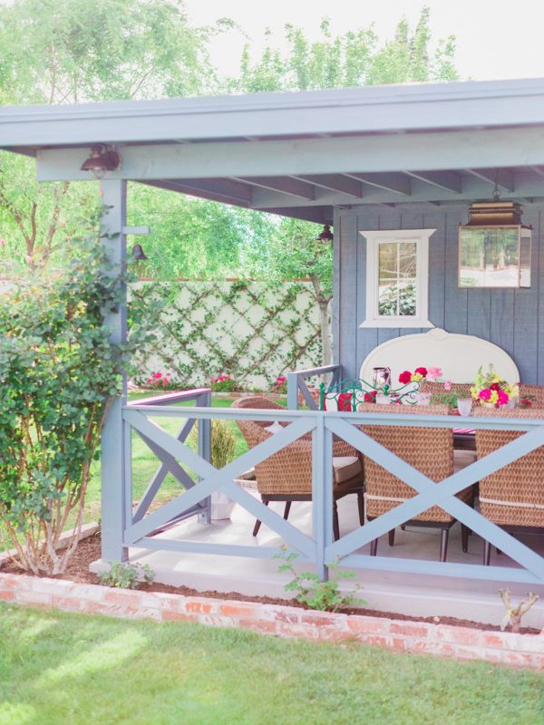 backyard patio makeover reveal blue and coastal vibe