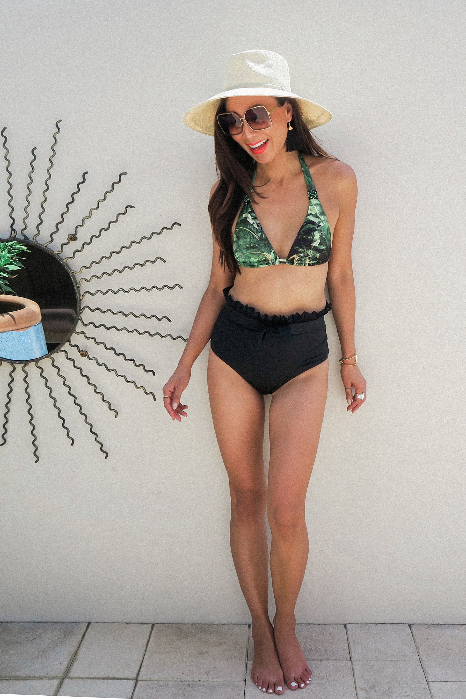 smeralda swimsuit - palm halter top with high waist black ruffle bottom swimsuit