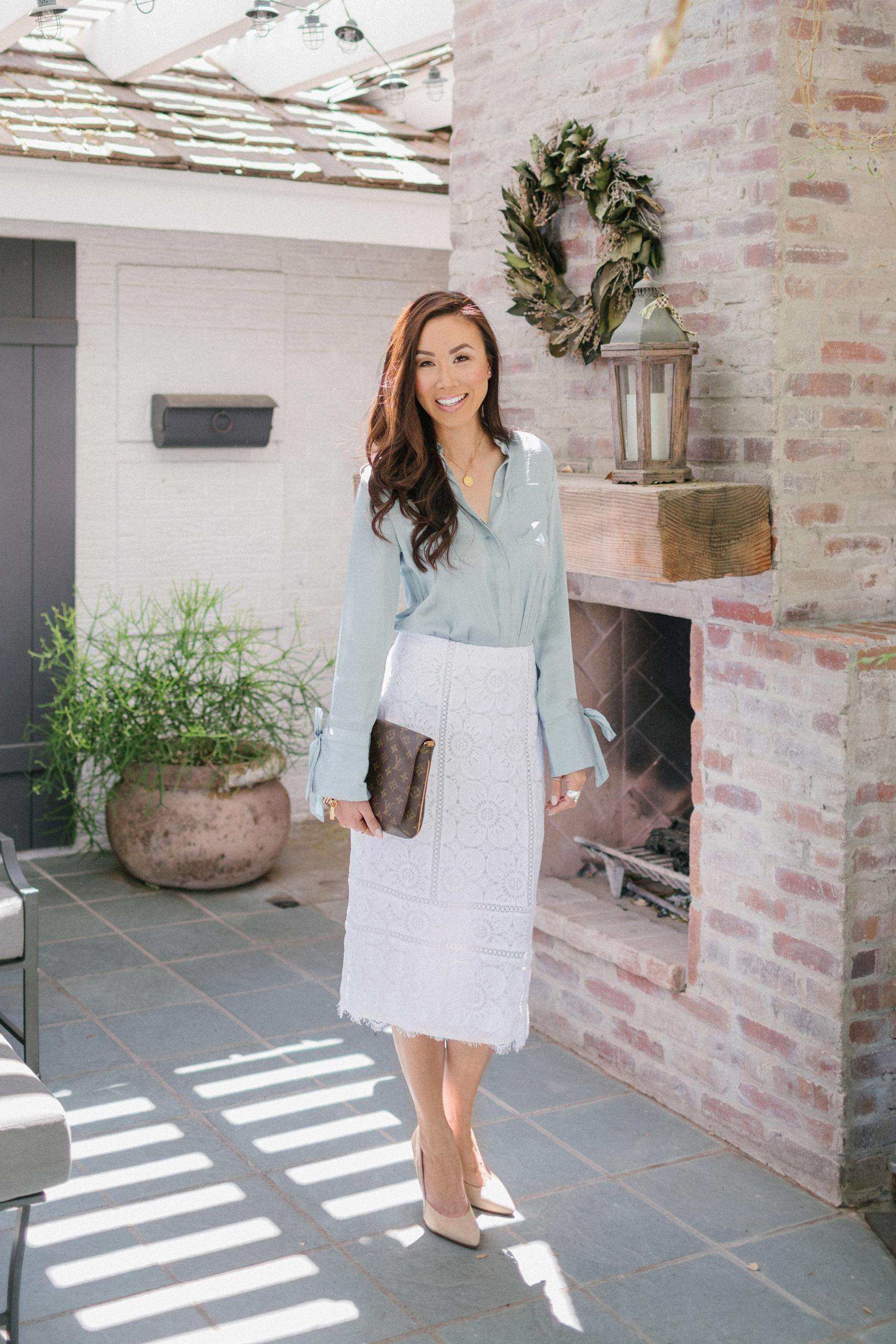 Talking about leaving corporate answering Q&A //Diana Elizabeth lifestyle blogger wearing Sunday best: Banana Republic white lace midi pencil skirt with Parker tunic-fit tie-cut shirt