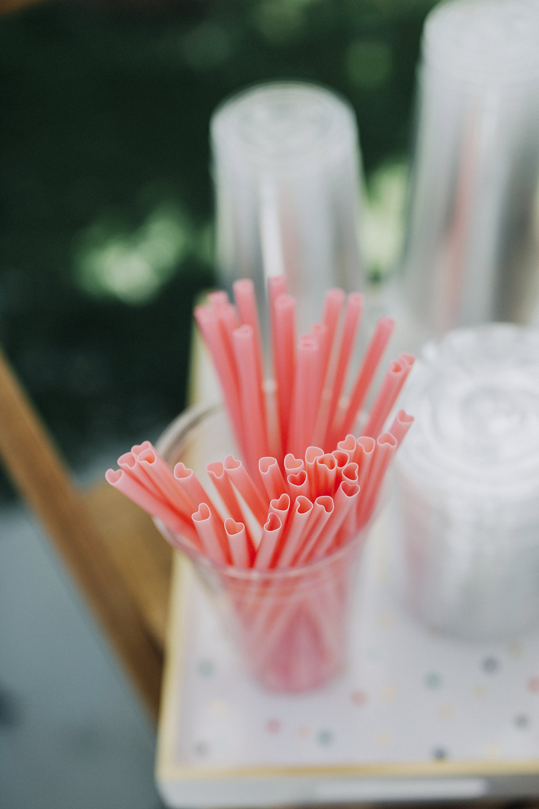 Boho bridal shower heart straws at drink bar