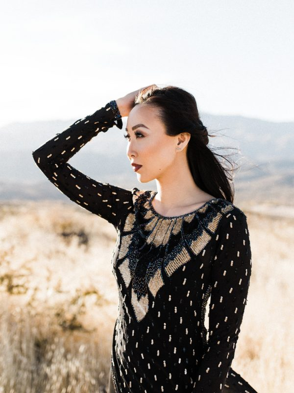 Golden hour light in dry phoenix arizona fields in black gown from Calypso st. Barths // Lifestyle blogger Diana Elizabeth