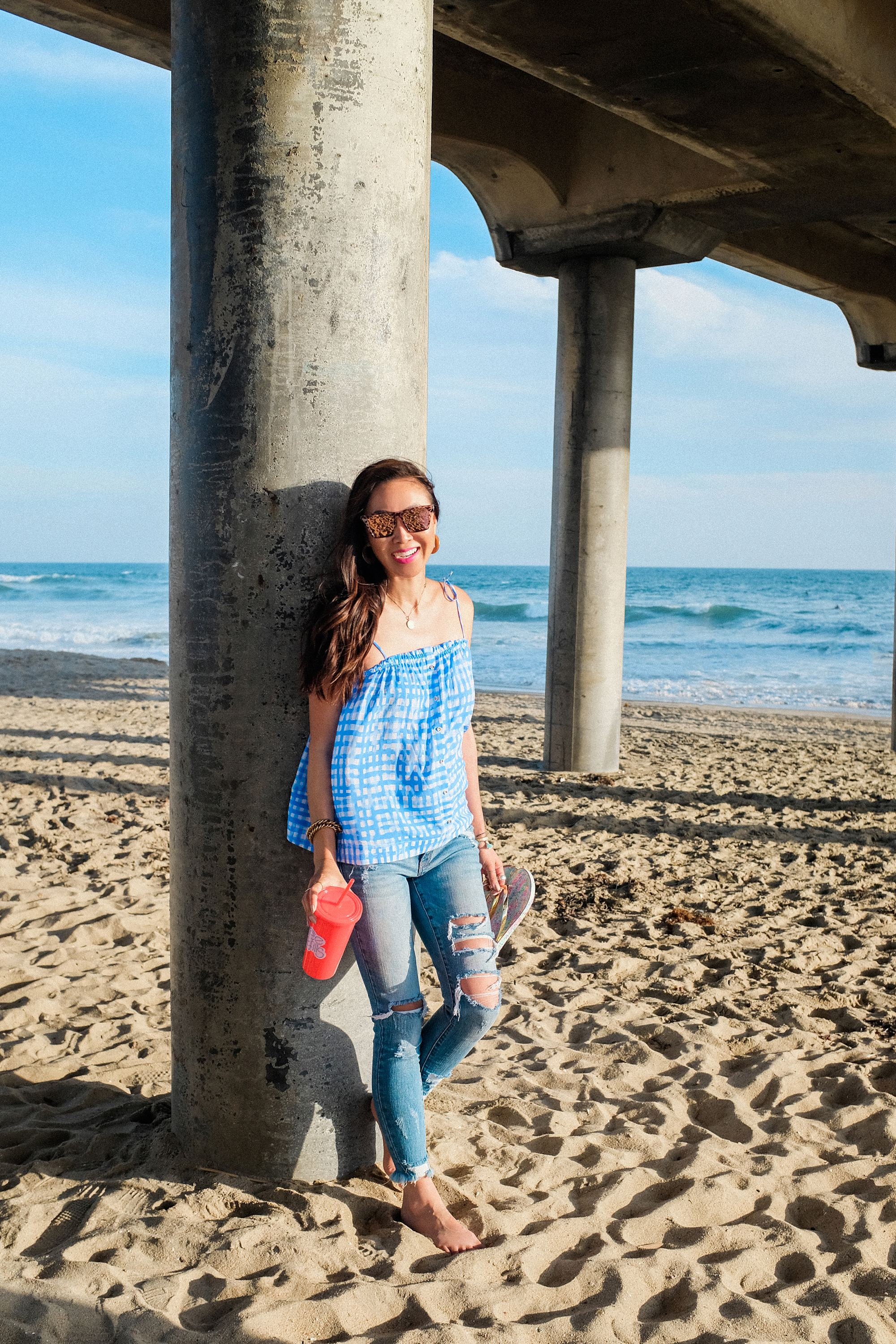 Huntington Beach pier under the boardwalk Lilly pulitzer Silvana top