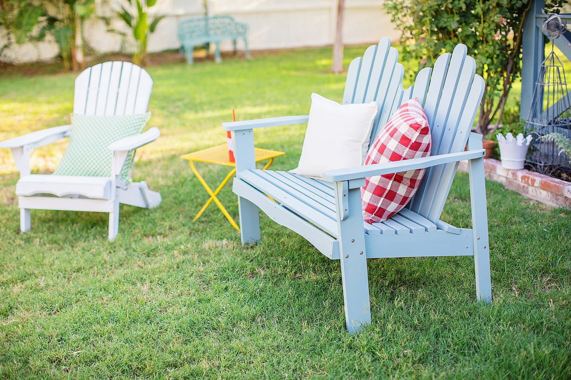 garden bench soft light blue from Wayfair backyard entertaining goals seating on the blog