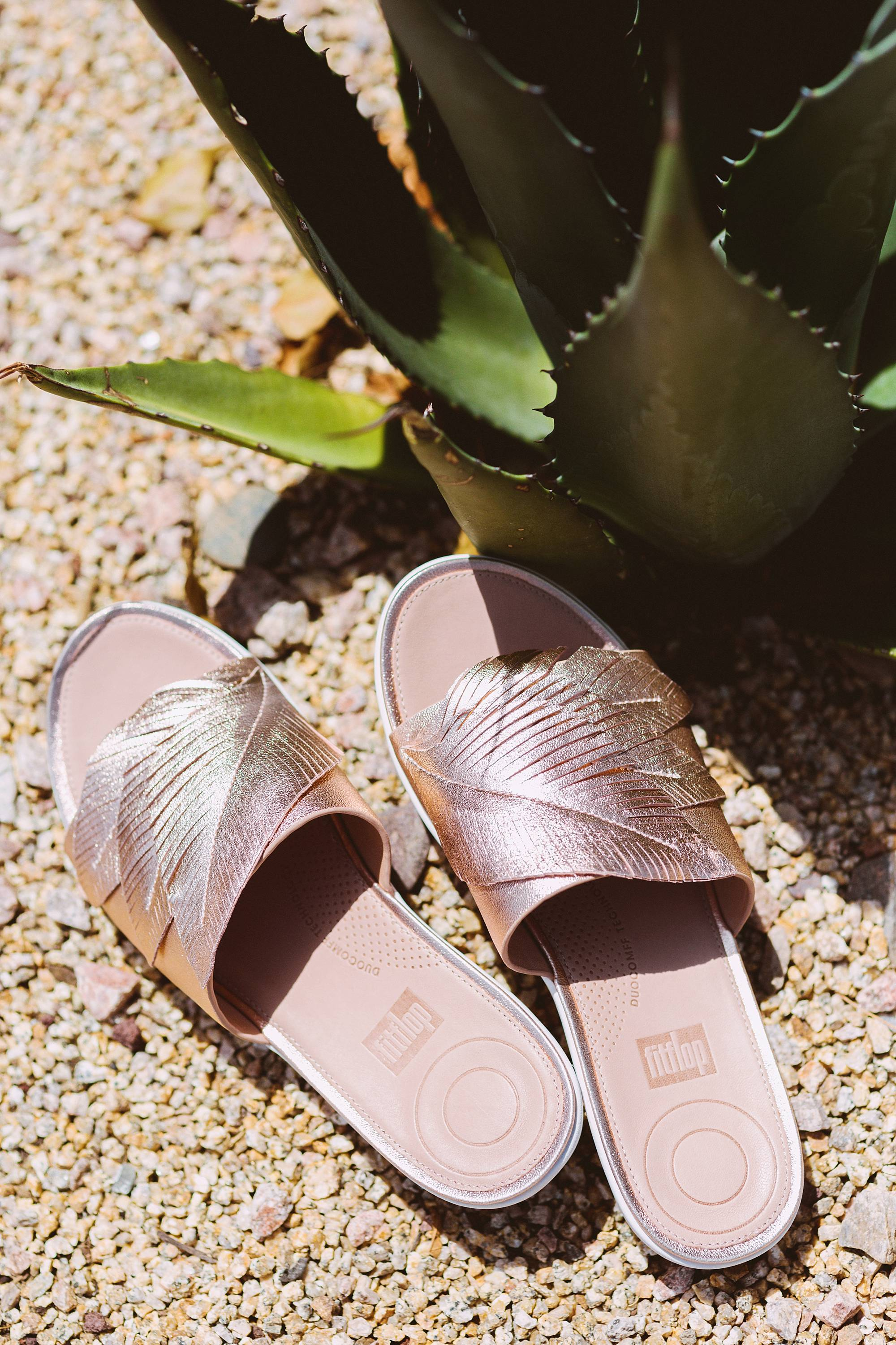 FitFlop Feather Ergonomic metallic slides in rose gold so comfortable on phoenix lifestyle blogger Diana Elizabeth