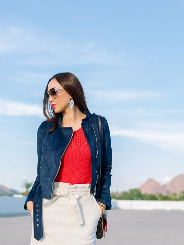 Banana republic high waist paper bag skirt with faux suede blue jacket on phoenix lifestyle blogger diana Elizabeth