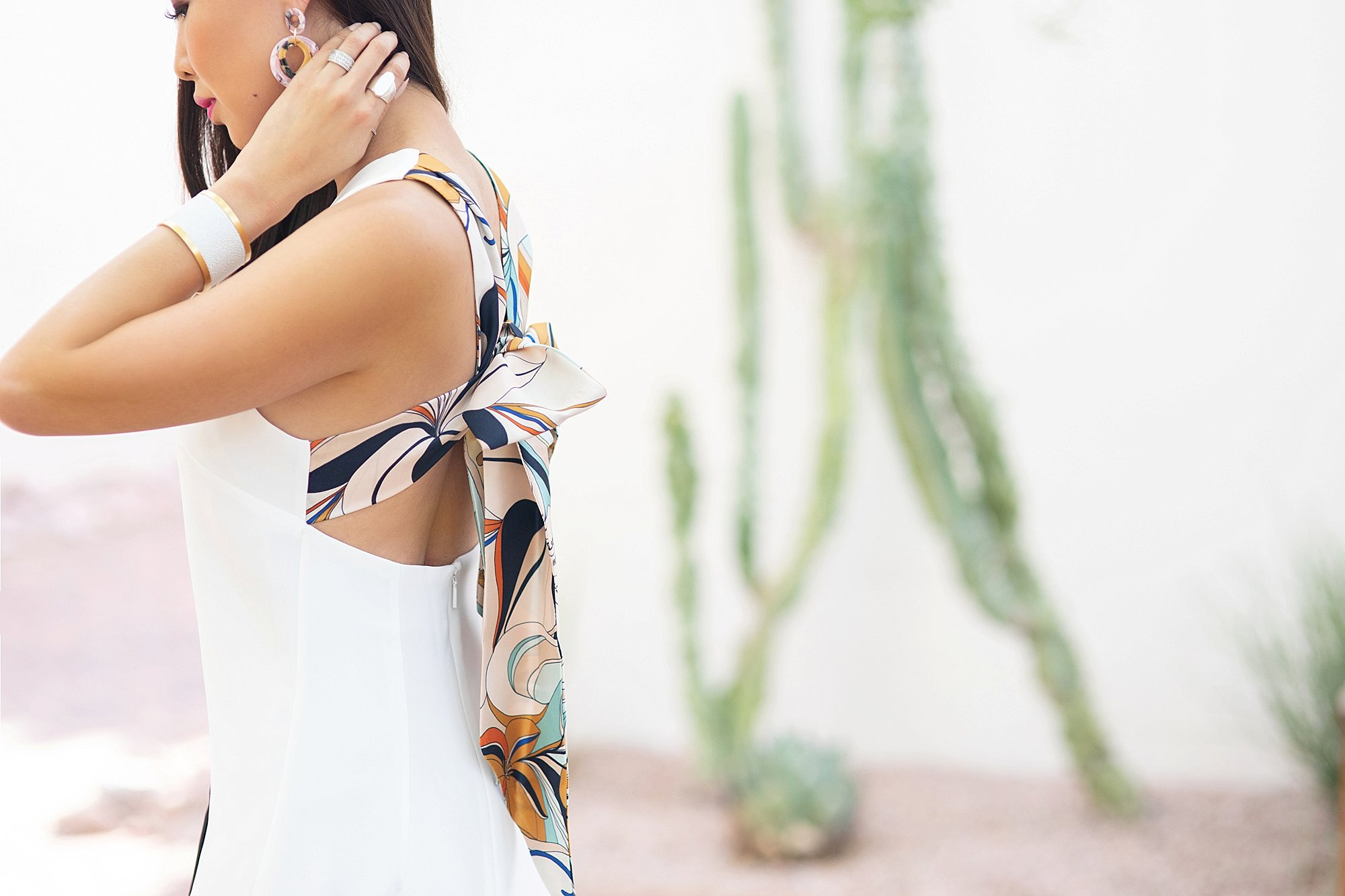 Mango Gugi2 scarf dress on blogger Diana Elizabeth in Phoenix, Arizona. Scarf dress paired a black clutch by India Hicks and white leather brass cuff and tortoise acrylic hoops