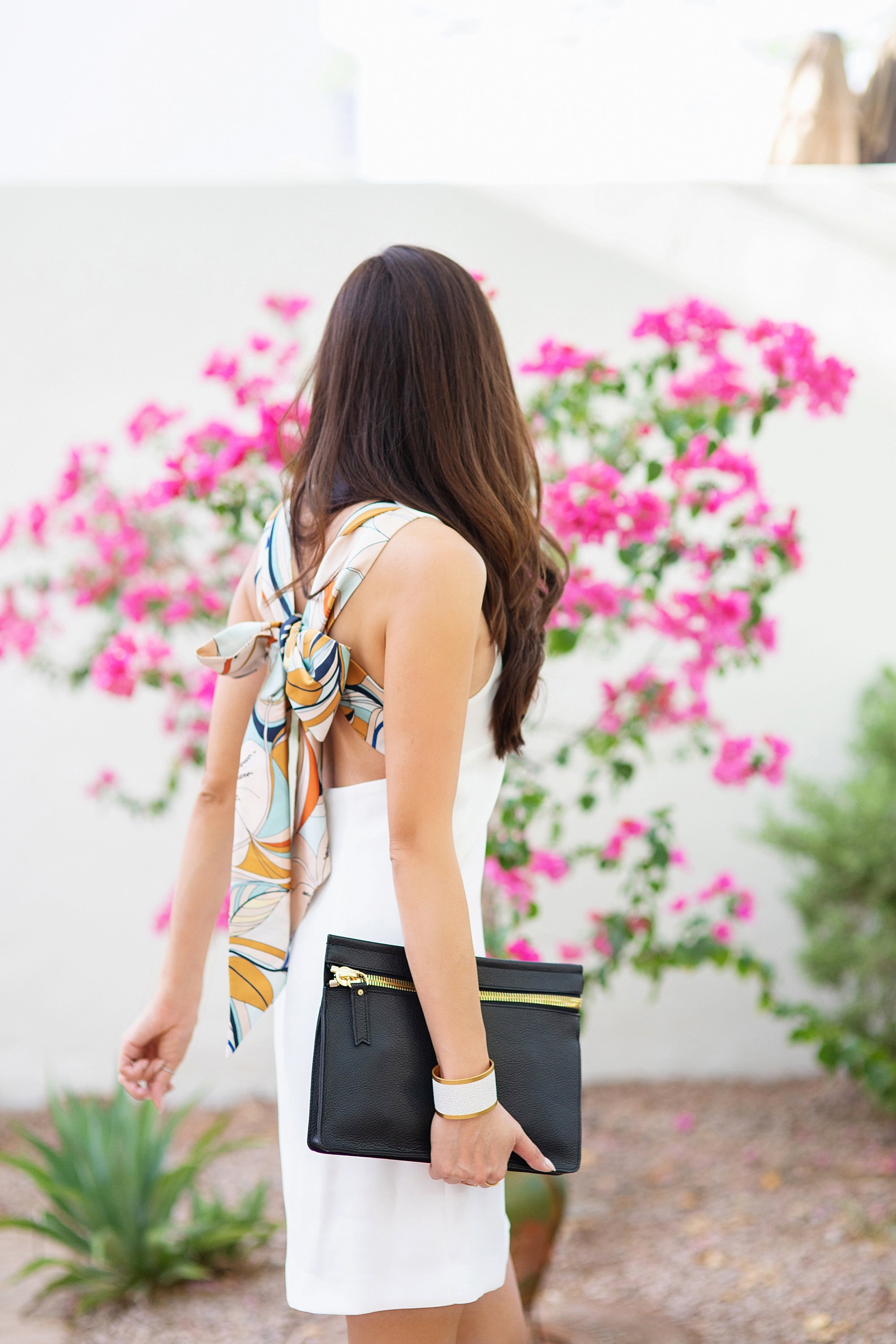 back details Mango Gugi2 scarf dress on blogger Diana Elizabeth in Phoenix, Arizona. Scarf dress paired a black clutch by India Hicks and white leather brass cuff and tortoise acrylic hoops at heard museum