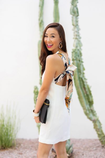 Mango Gugi2 scarf dress on blogger Diana Elizabeth in Phoenix, Arizona. Scarf dress paired a black clutch by India Hicks and white leather brass cuff