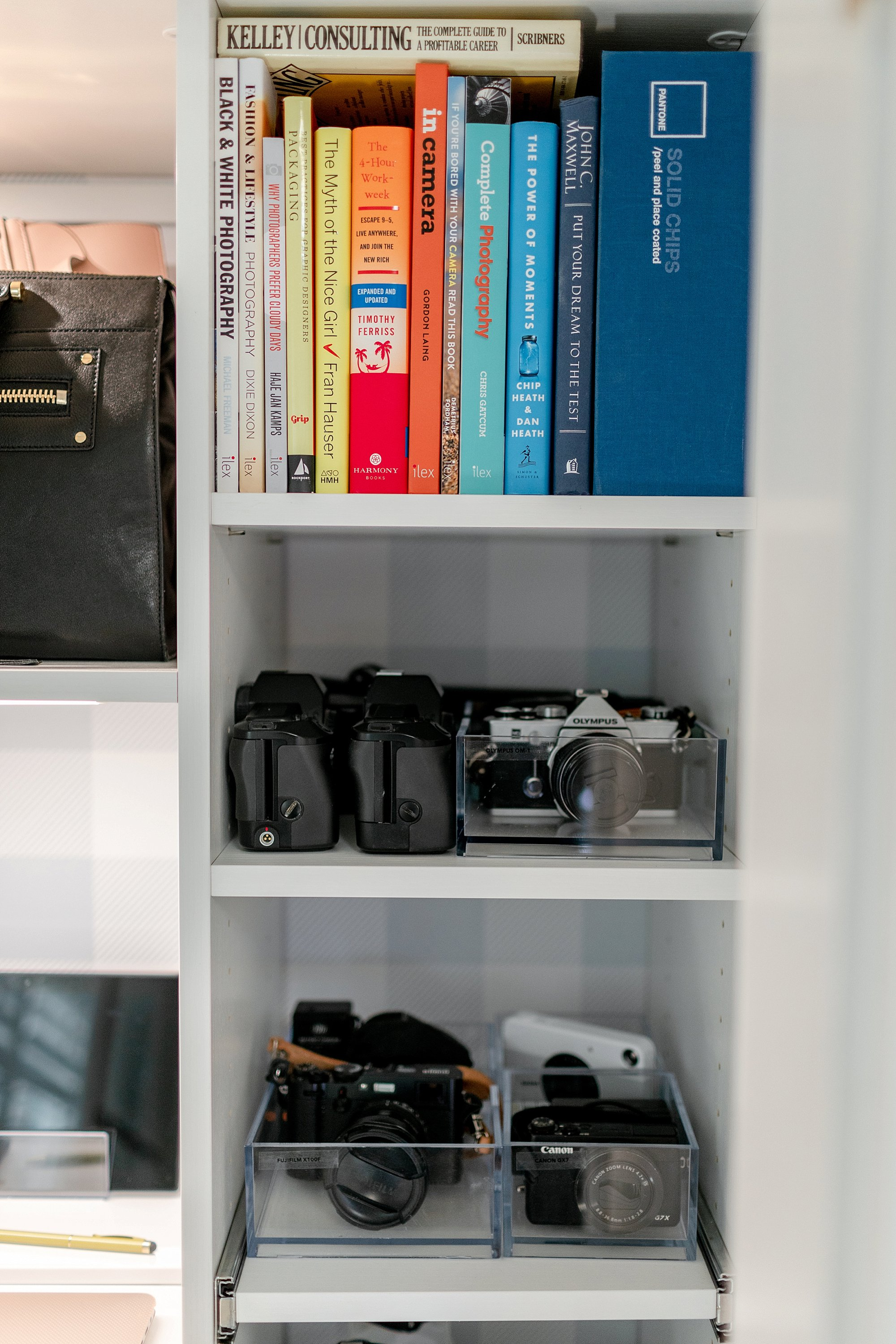 mirrorless camera bodies and business books: final reveal of office closet reveal belonging to photographer blogger Diana Elizabeth in phoenix arizona. created by California closets and with removable buffalo check wallpaper #office #closet #wallpaper #organization #lensorganization #lensdrawer