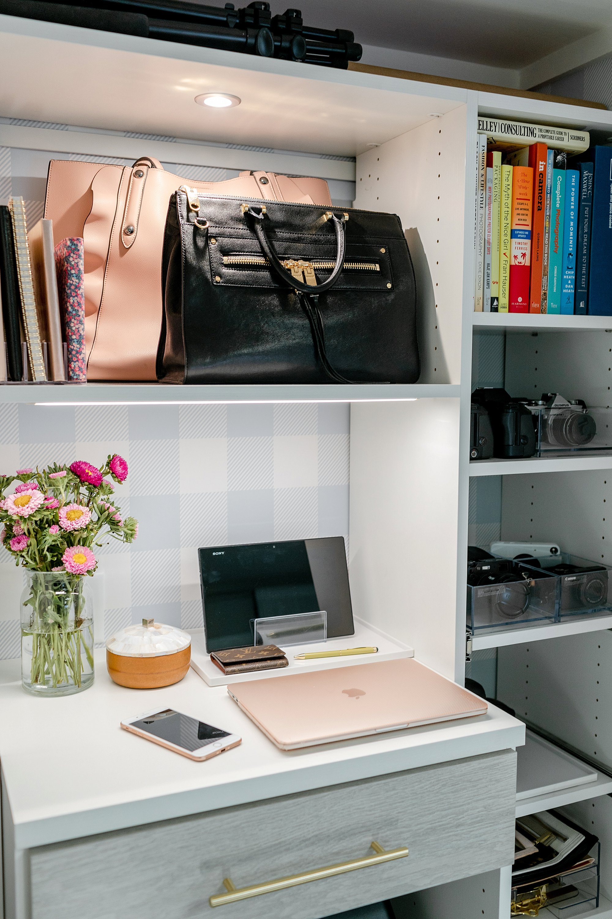 final reveal of office closet reveal belonging to photographer blogger Diana Elizabeth in phoenix arizona. created by California closets and with removable buffalo check wallpaper #office #closet #wallpaper #organization #lensorganization #lensdrawer