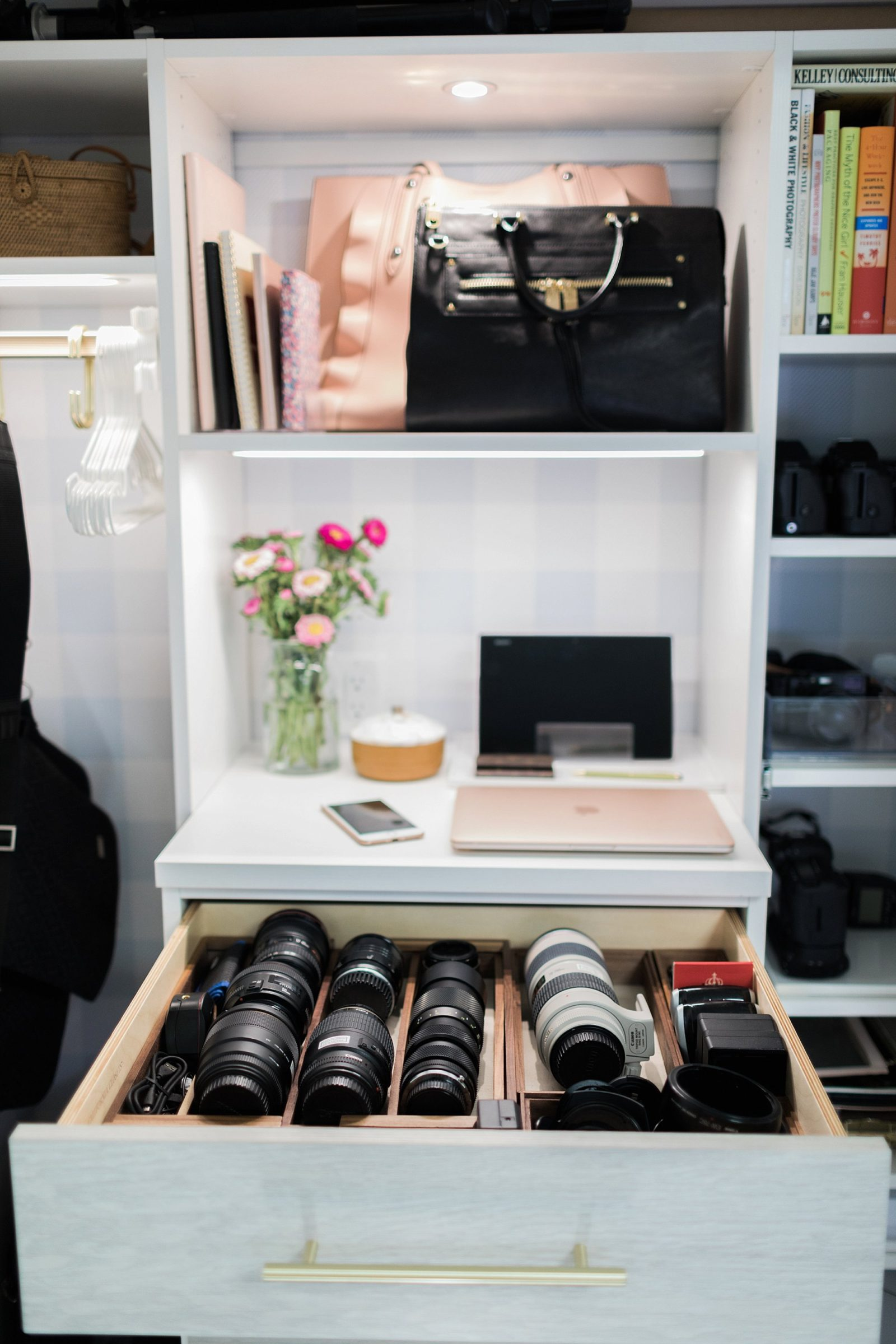 camera lens drawer lens organization blogger photographer office closet and how to organize and store camera lenses