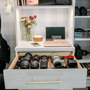 camera lens drawer in home office belonging to blogger and photographer Diana Elizabeth. See more on the blog post! #blogger #photographer #organization #office
