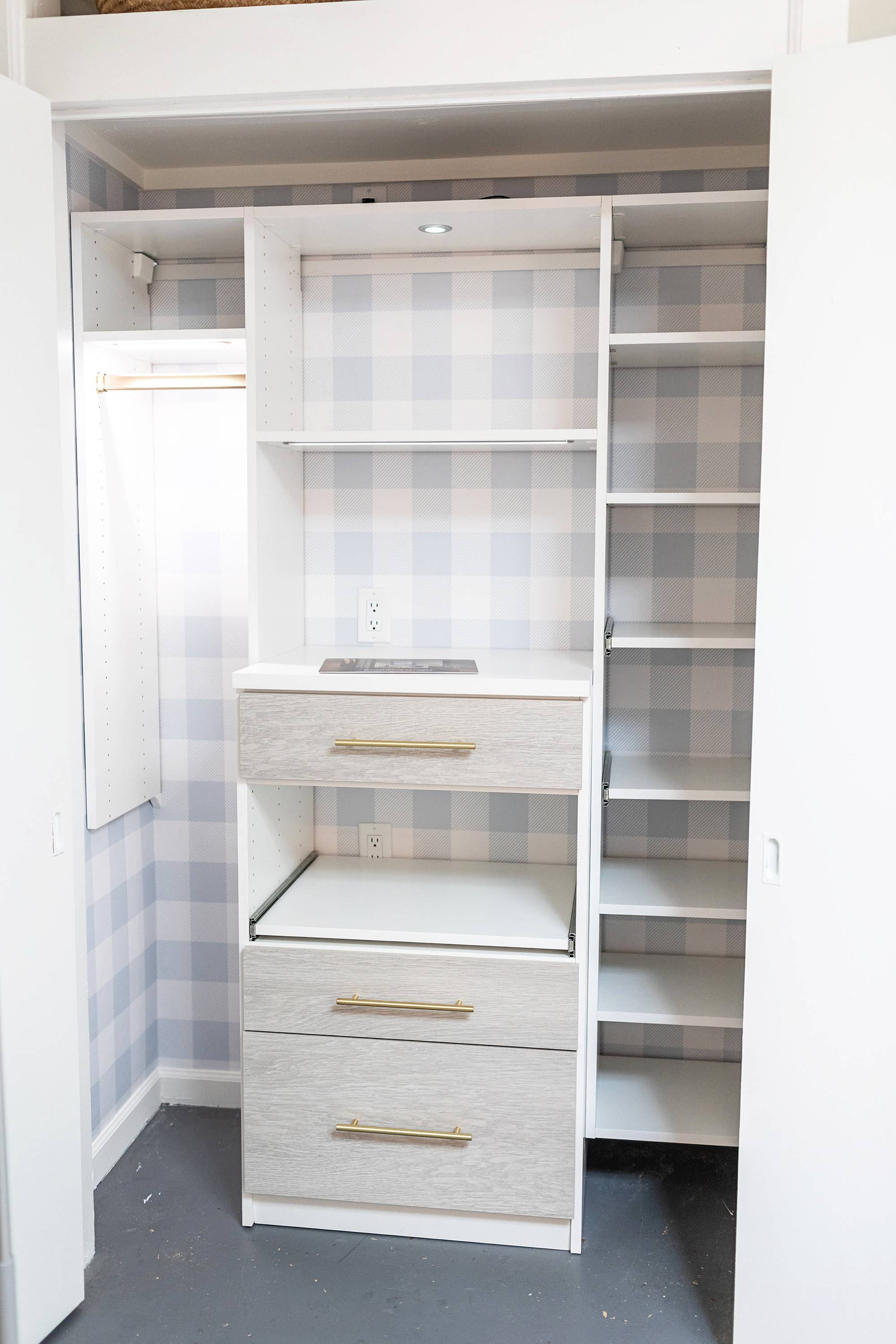 steps of the remake of my office closet with outlets and removable buffalo check wallpaper install with California closets and lighting #wallpaper #homeoffice