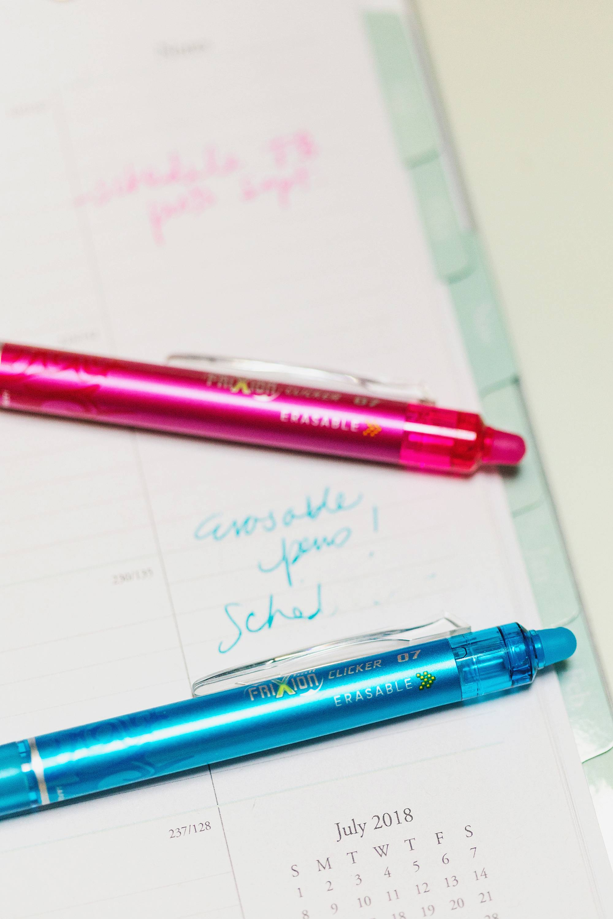 Erasable pens gel and colored great for writing down plans and able to erase them too