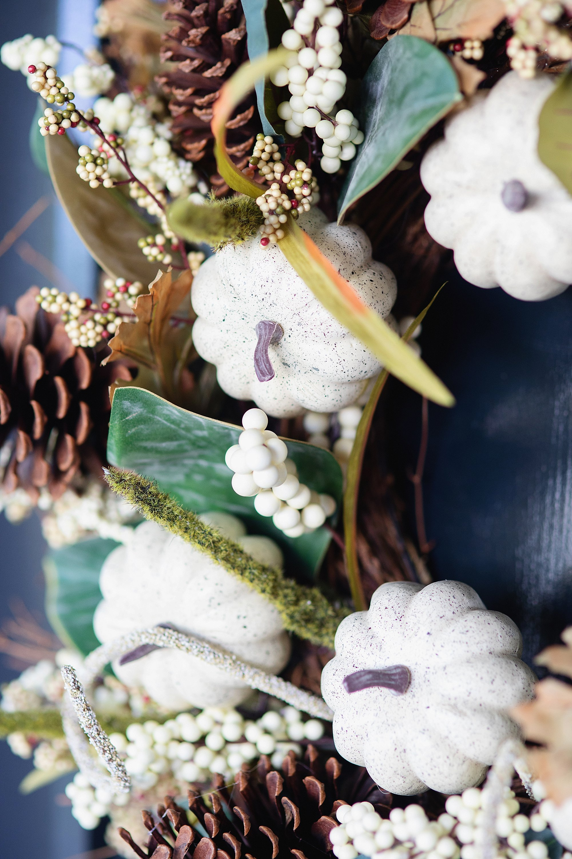 fall decor outdoor entertaining with balsam hill - wreath magnolia and white pumpkins