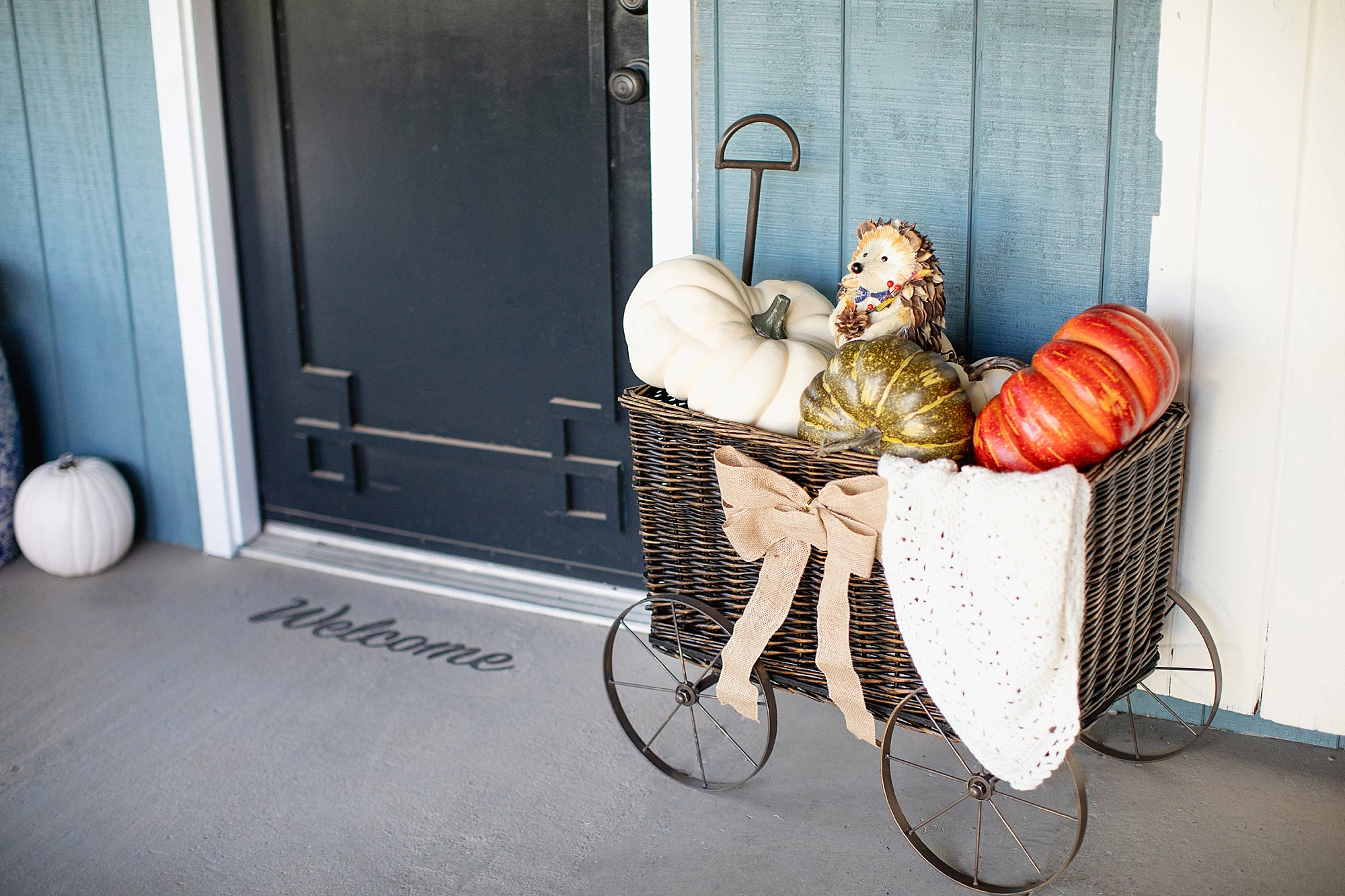 fall decor outdoor entertaining with balsam hill - wicker wagon filled with pumpkins