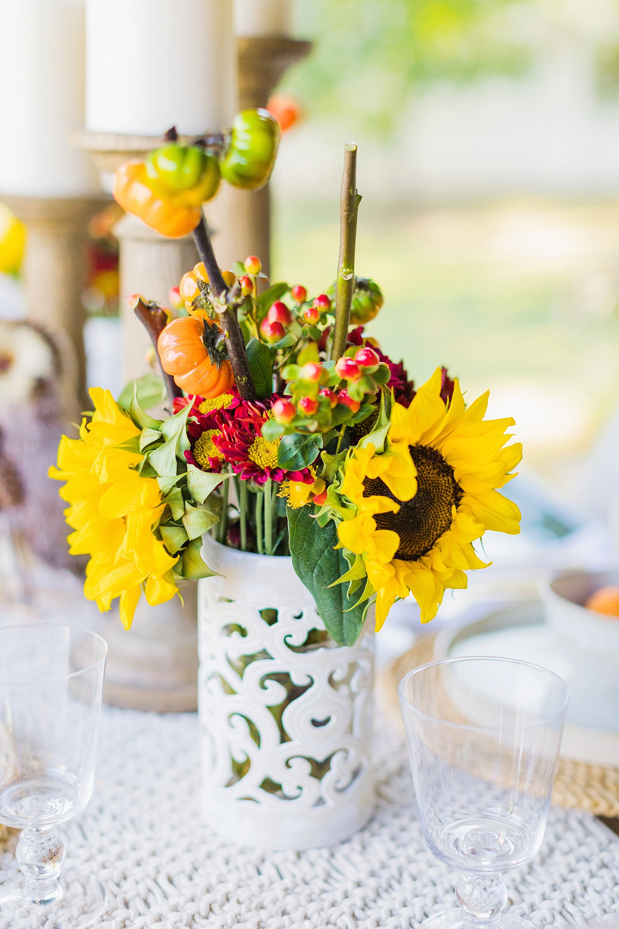 fall decor outdoor entertaining with balsam hill - using hurricane as vase