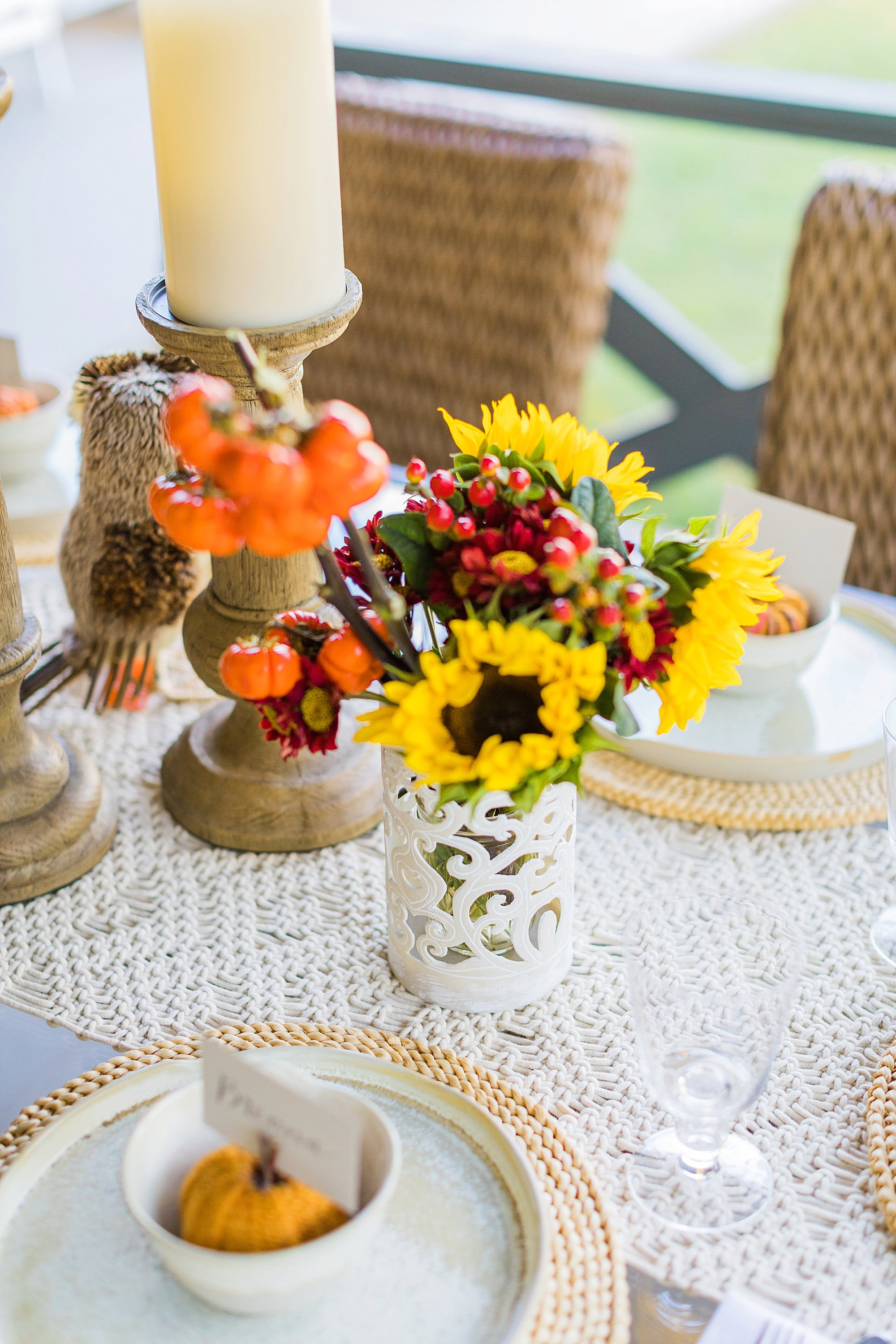 fall decor outdoor entertaining with balsam hill - using hurricanes as vases sunflowers thanksgiving set the table outdoors