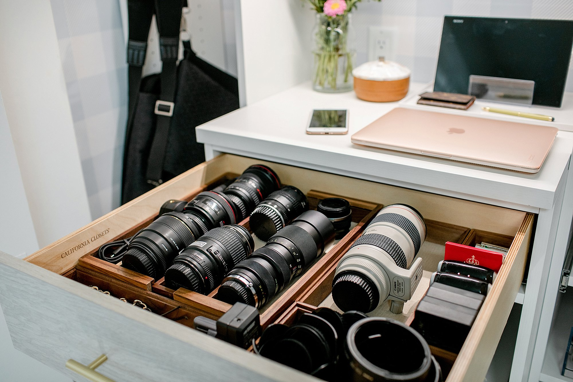 lens organization drawer putting camera lenses in drawers, see more on the blog post reveal #organization #photography #photostudio