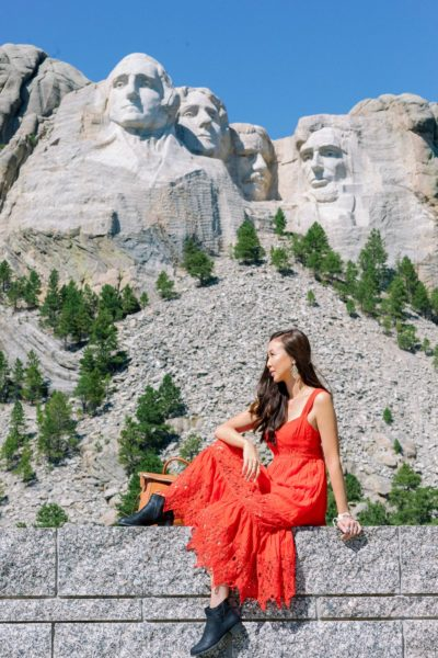 south Dakota mount rushmore wearing red free people dress