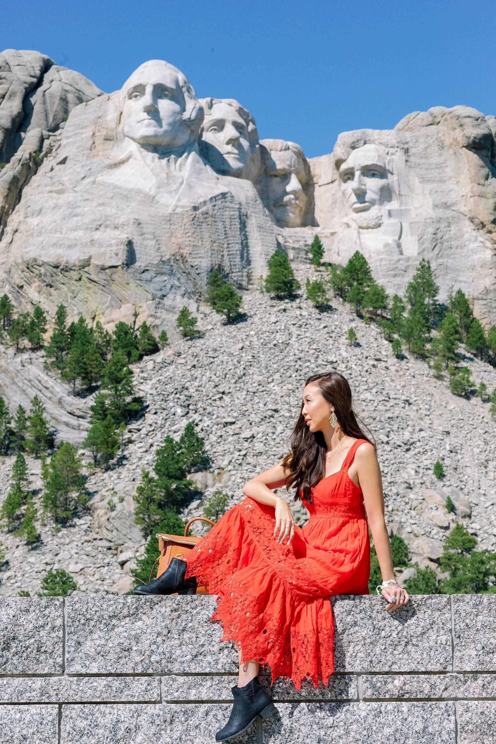 south Dakota mount rushmore wearing red free people dress