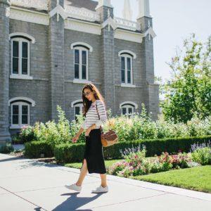walking at mormon temple in salt lake city Utah - wearing black white stripe sweater banana republic and knit skirt black on lifestyle fashion blogger Diana Elizabeth phoenix arizona and white sneakers