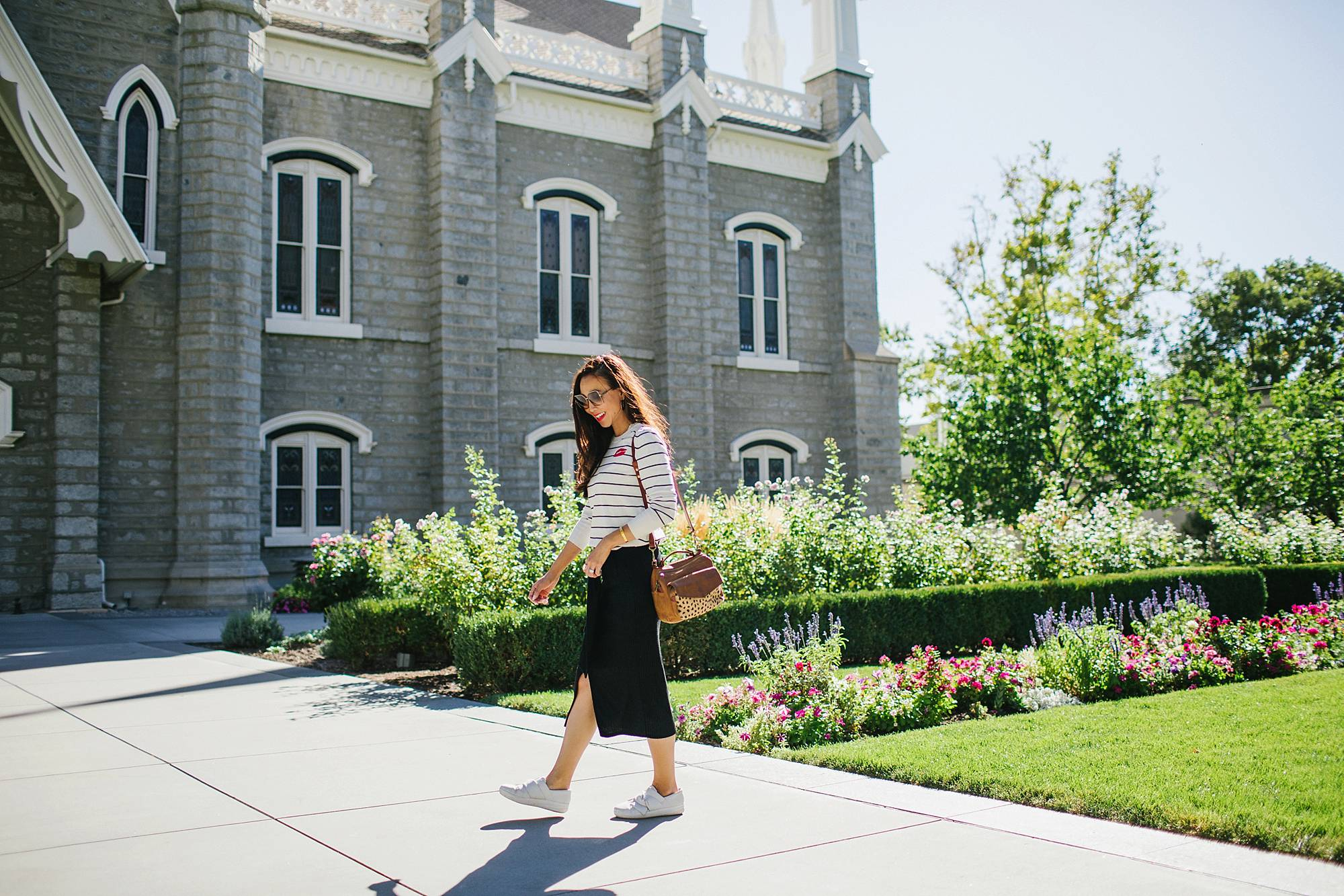 walking at mormon temple in salt lake city Utah - wearing black white stripe sweater banana republic and knit skirt black on lifestyle fashion blogger Diana Elizabeth phoenix arizona and white sneakers