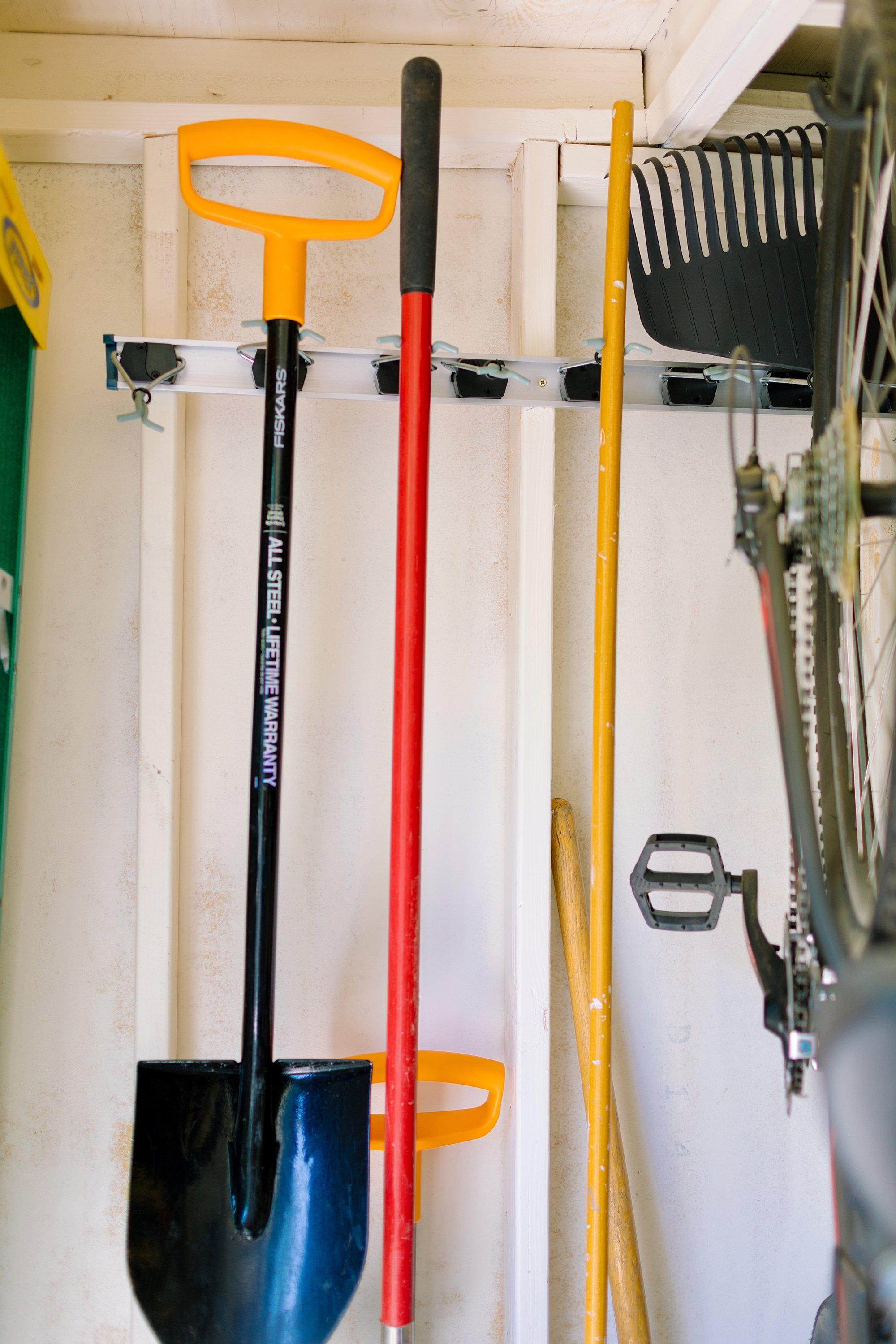 backyard tool shed Fiskars garden tools tour hang garden tools