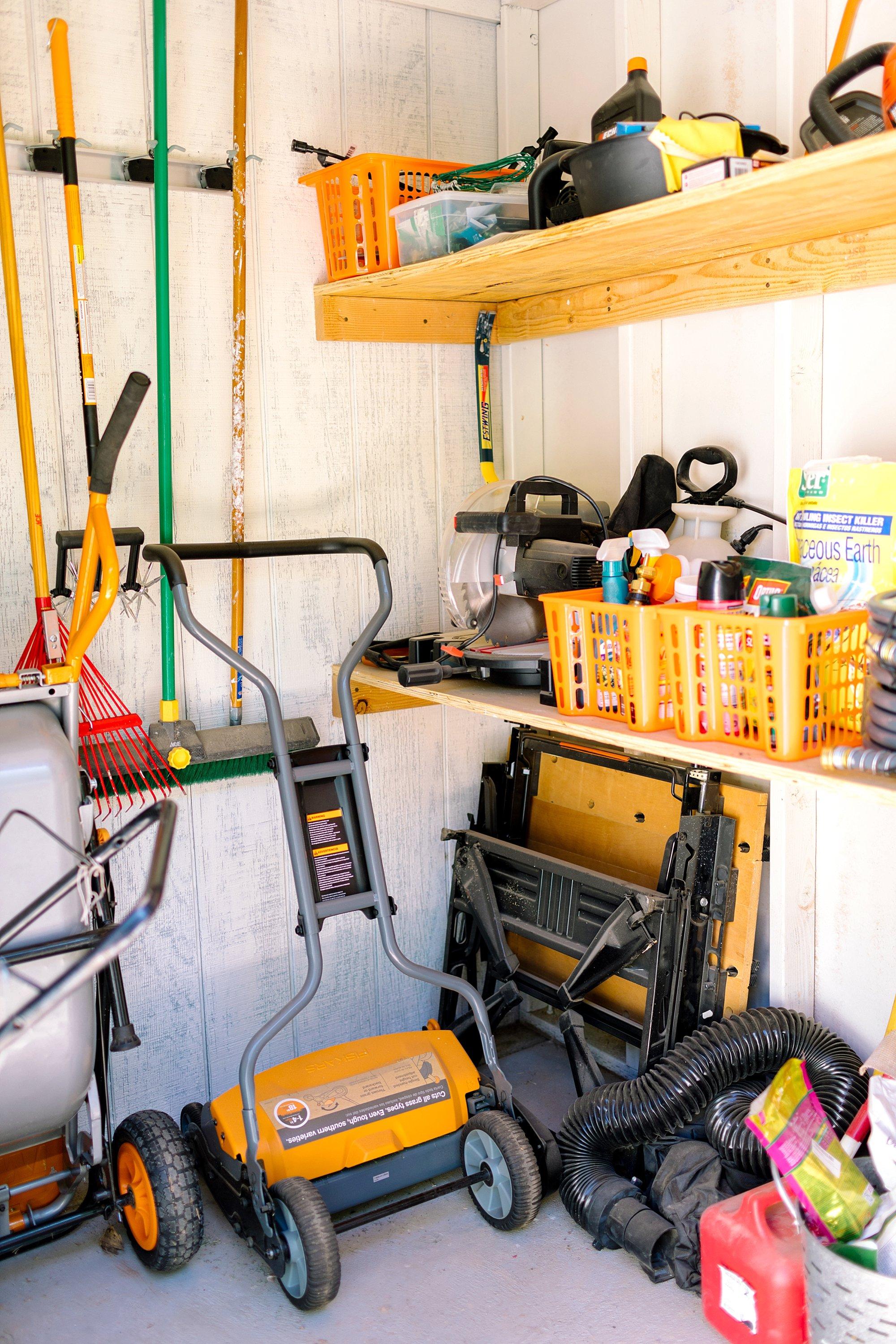 backyard tool shed Fiskars garden tools tour shelving