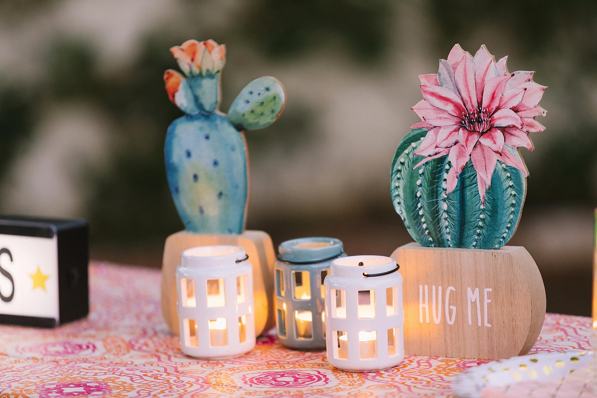 Night time boho theme party with LED light up dream catchers from the 99 only store - check out this party all from the 99 cent store to stay under budget for your party! cactus tealights