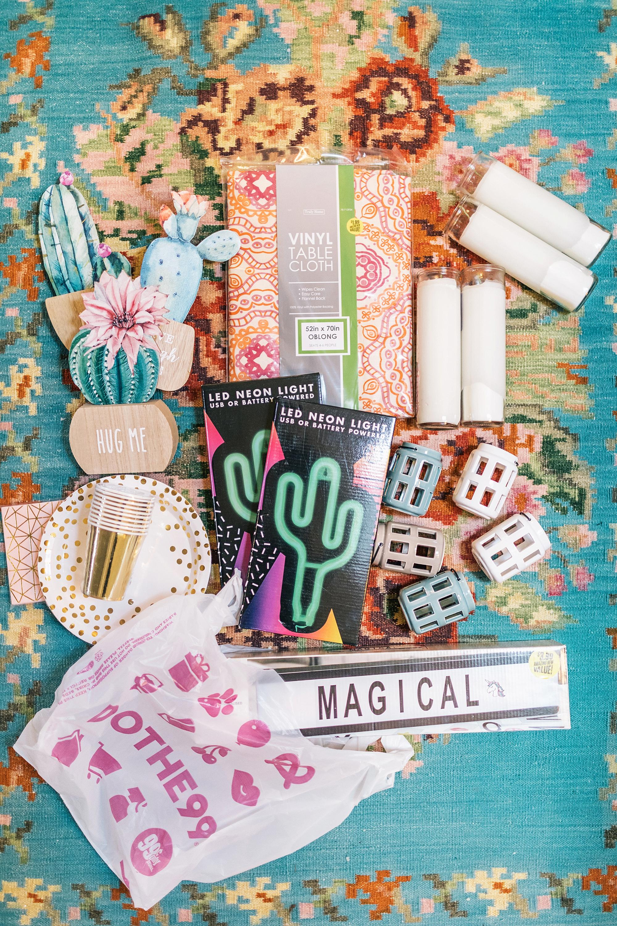 all of this for under $50 from the 99 Cent Only Store for a boho theme party - LED dream catcher boho theme party - Boho shower party boho nights girls theme party with neon cactus light Fromm the 99 cent only store! Check out this party all 99 cent only products