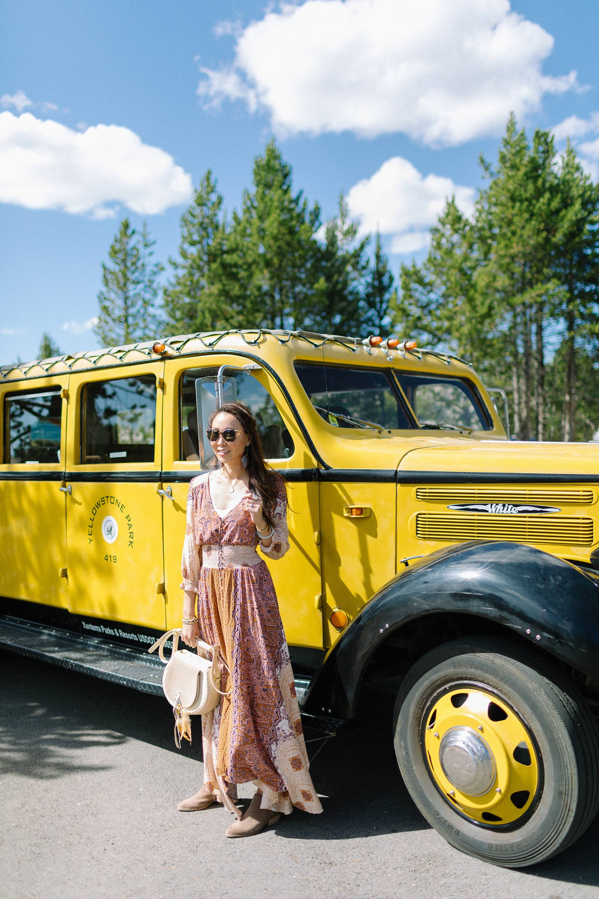 Yellowstone old taxi bus wearing paisley free people dress
