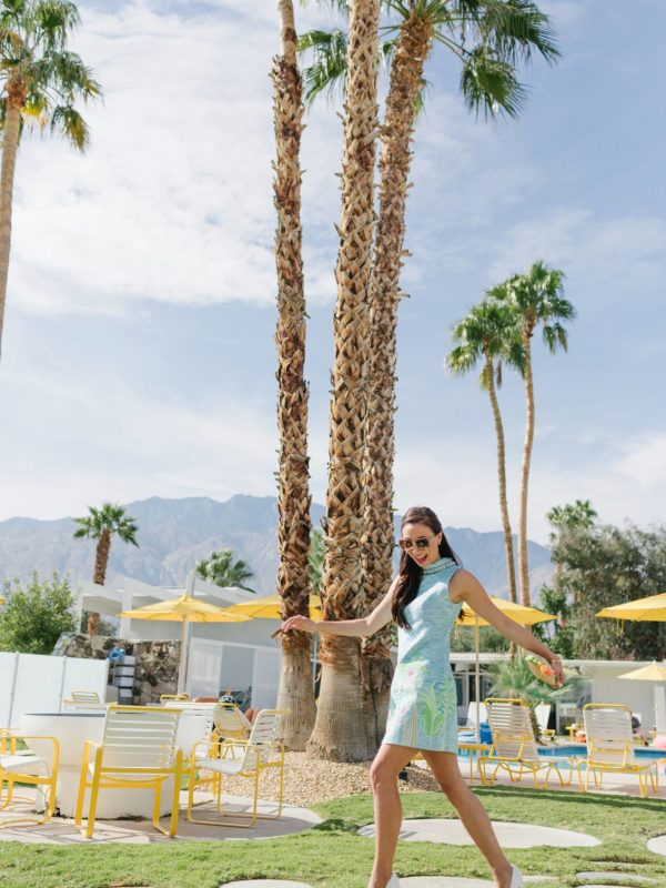 the monkey tree inn Palm Springs wearing Lilly pulitzer on phoenix travel lifestyle blogger Diana Elizabeth wearing blue portia shift dress