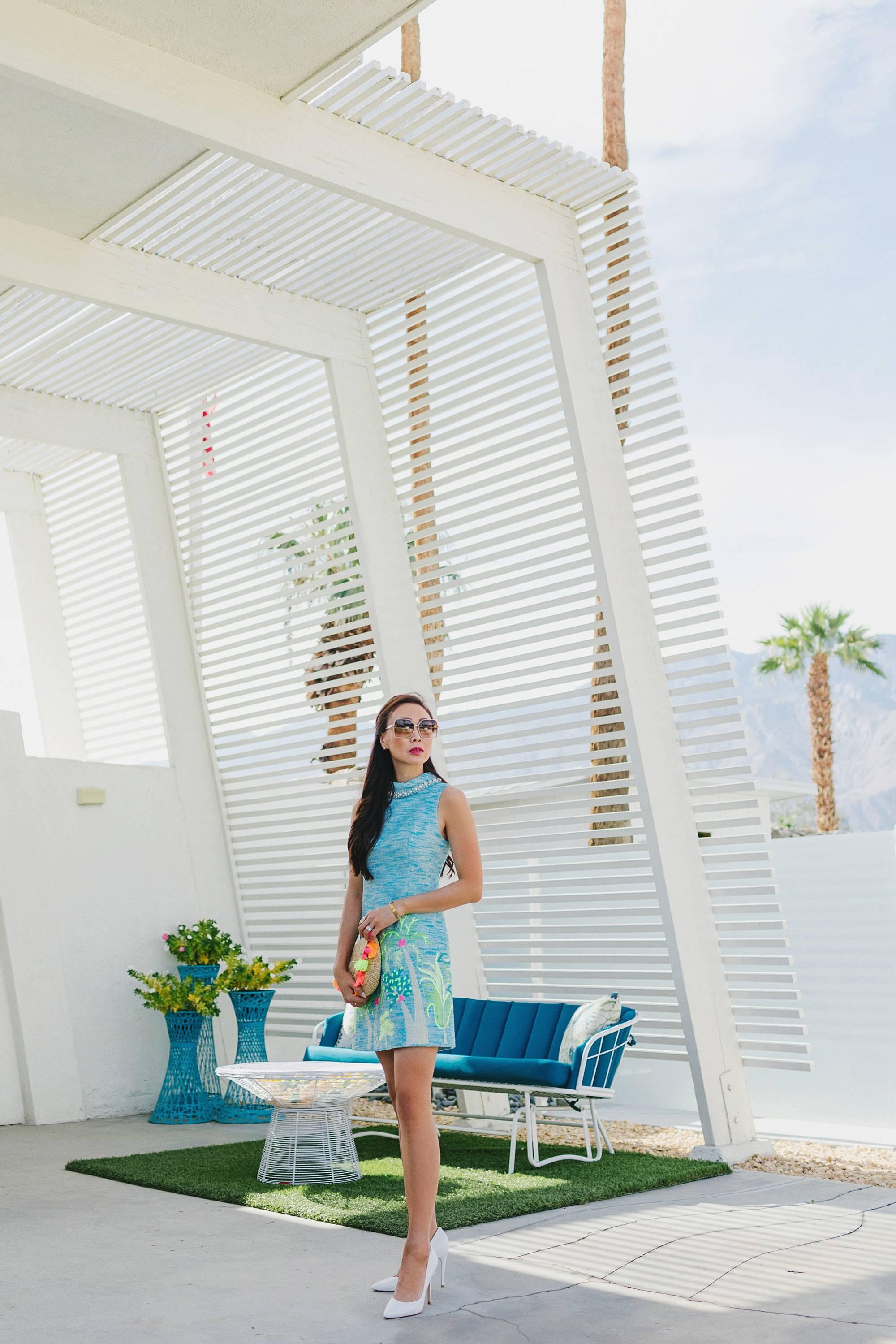 the monkey tree inn Palm Springs wearing Lilly pulitzer on phoenix travel lifestyle blogger Diana Elizabeth wearing blue portia shift dress