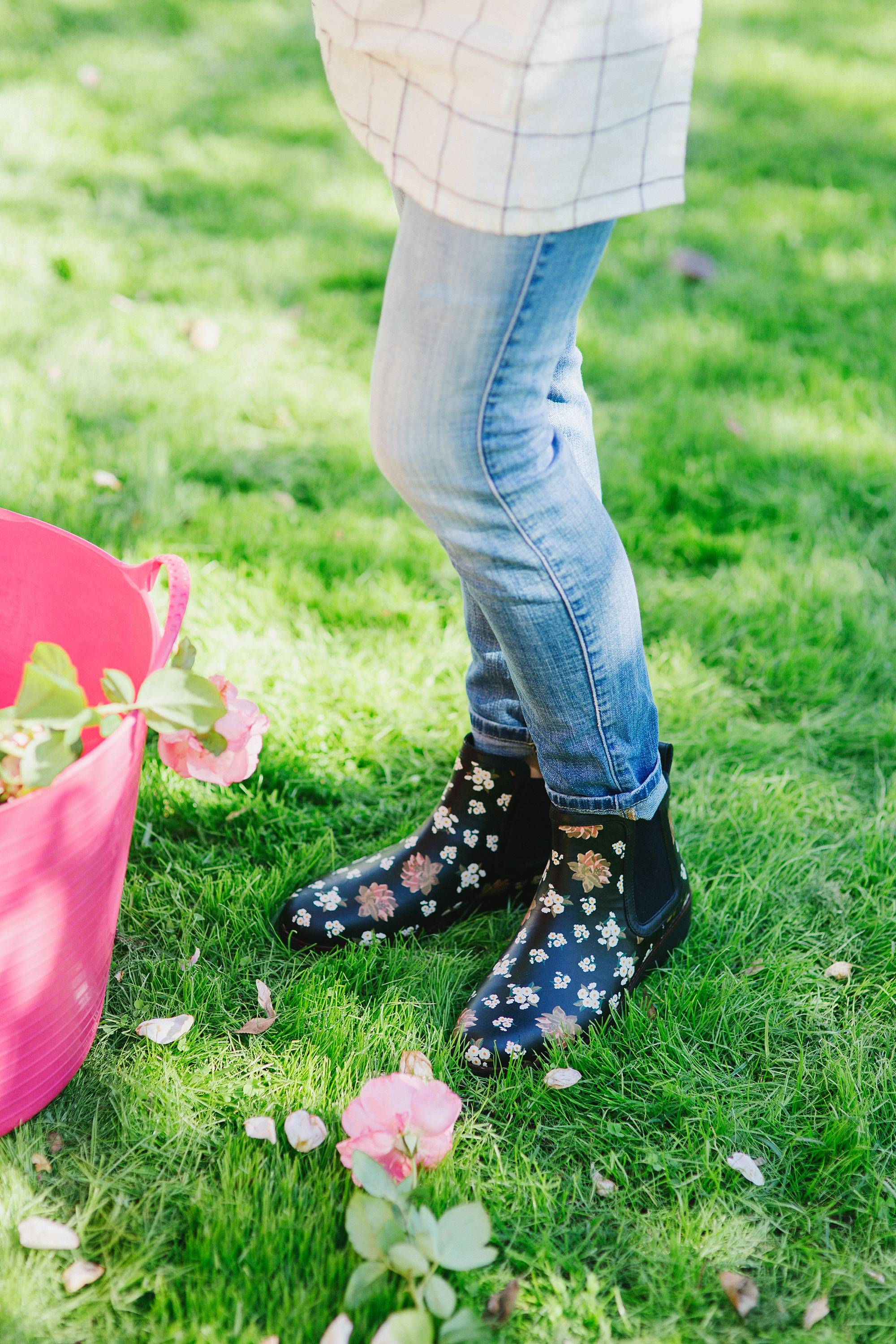 chai floral leather booties in black FitFlop cute booties and garden booties too // in the garden cutting roses