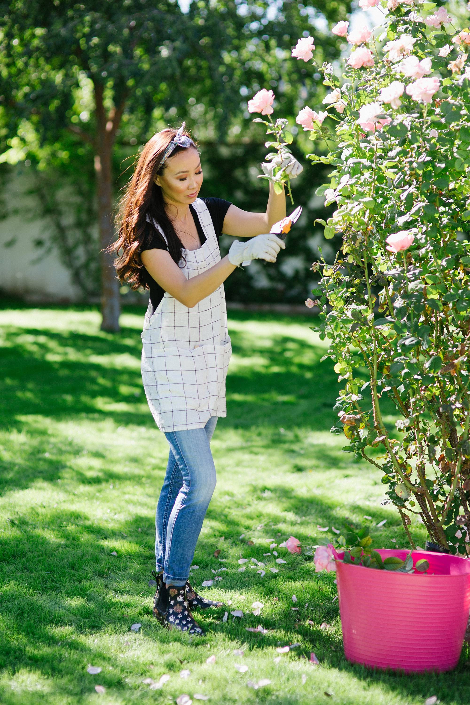 in the garden cutting roses //chai floral leather booties in black FitFlop cute booties and garden booties too with a pink tubtrug liberty London scarf in hair