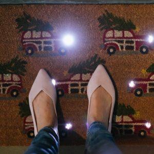 light up Christmas door mat from Pottery Barn