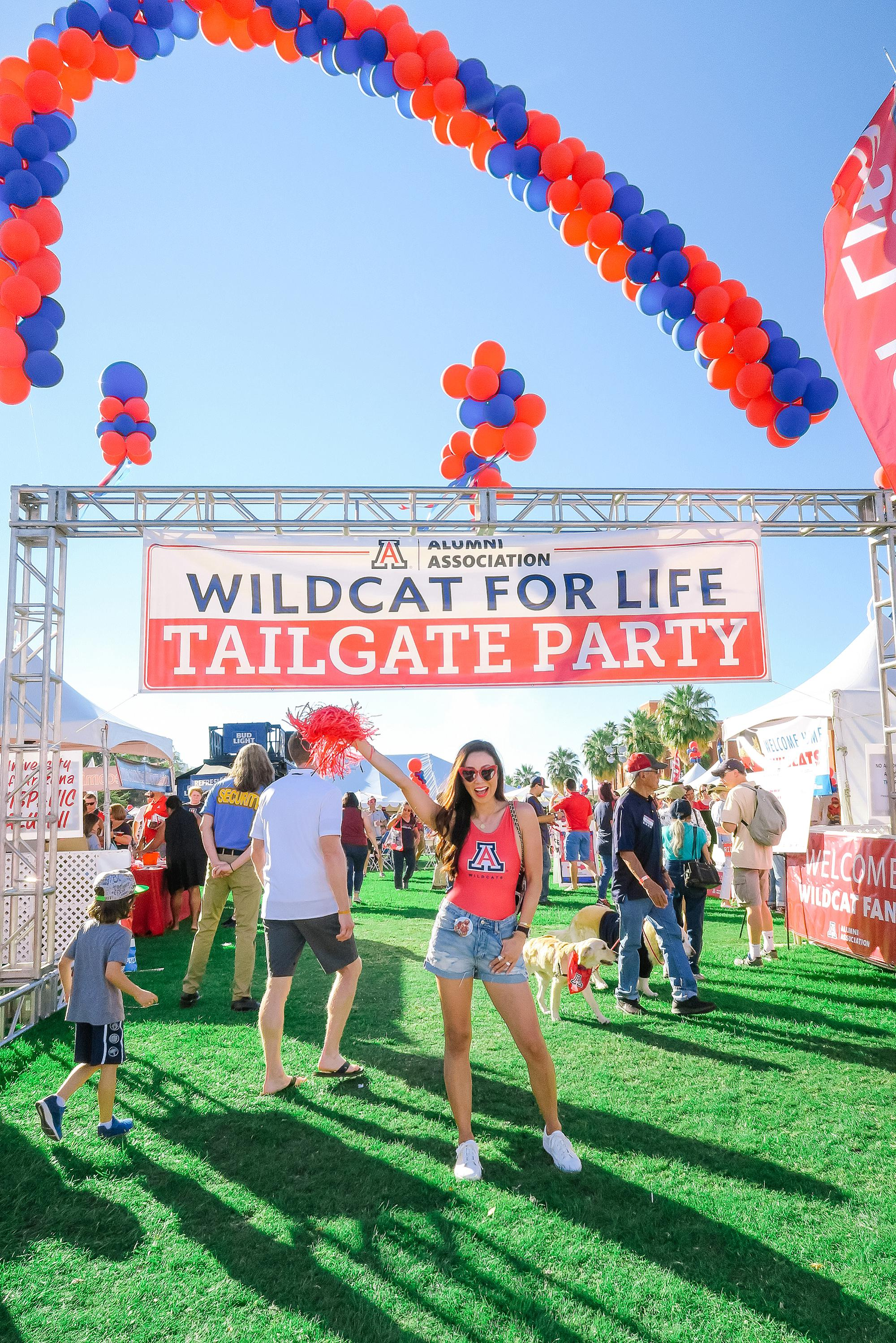 wildcat for life alumni tailgate party tent at University of Arizona homecoming 2018